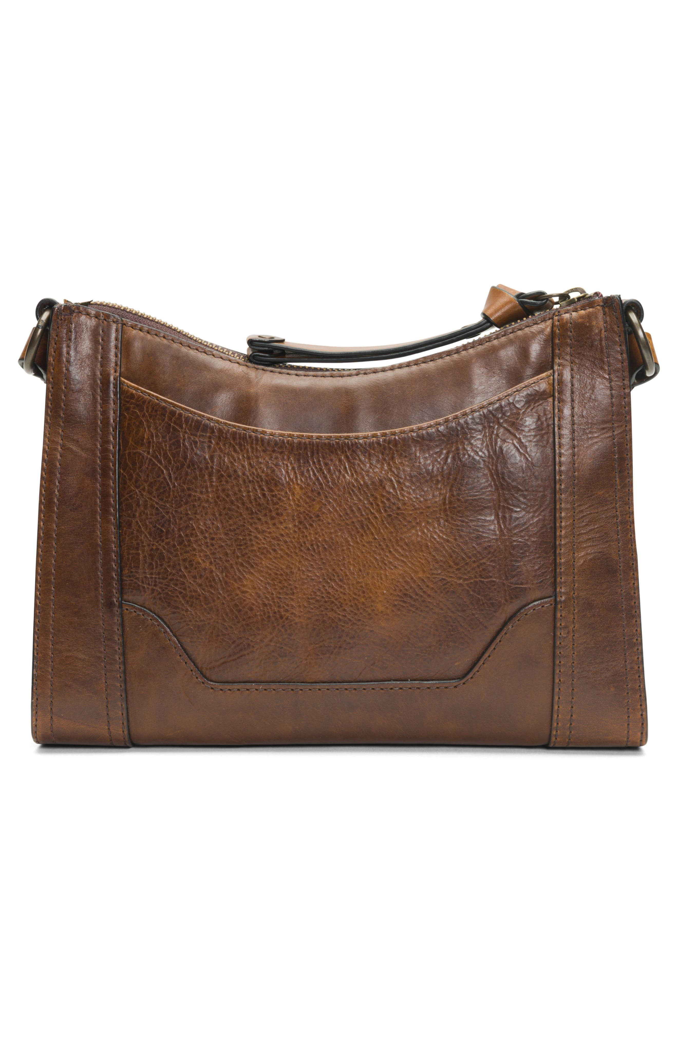 Melissa Leather Crossbody Bag,                             Alternate thumbnail 3, color,                             DARK BROWN