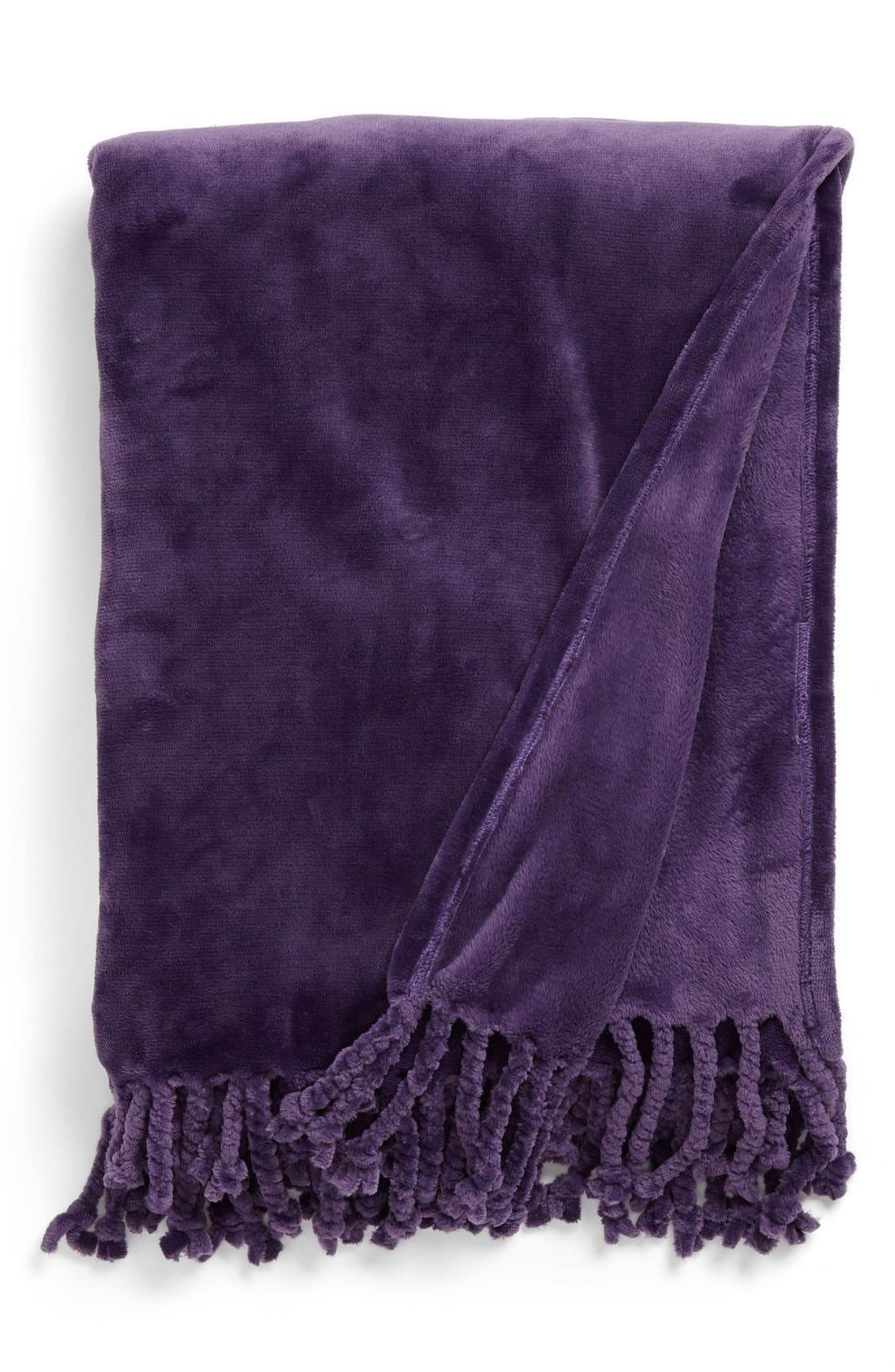 Kennebunk Bliss Plush Throw,                             Main thumbnail 1, color,                             PURPLE KEEPSAKE