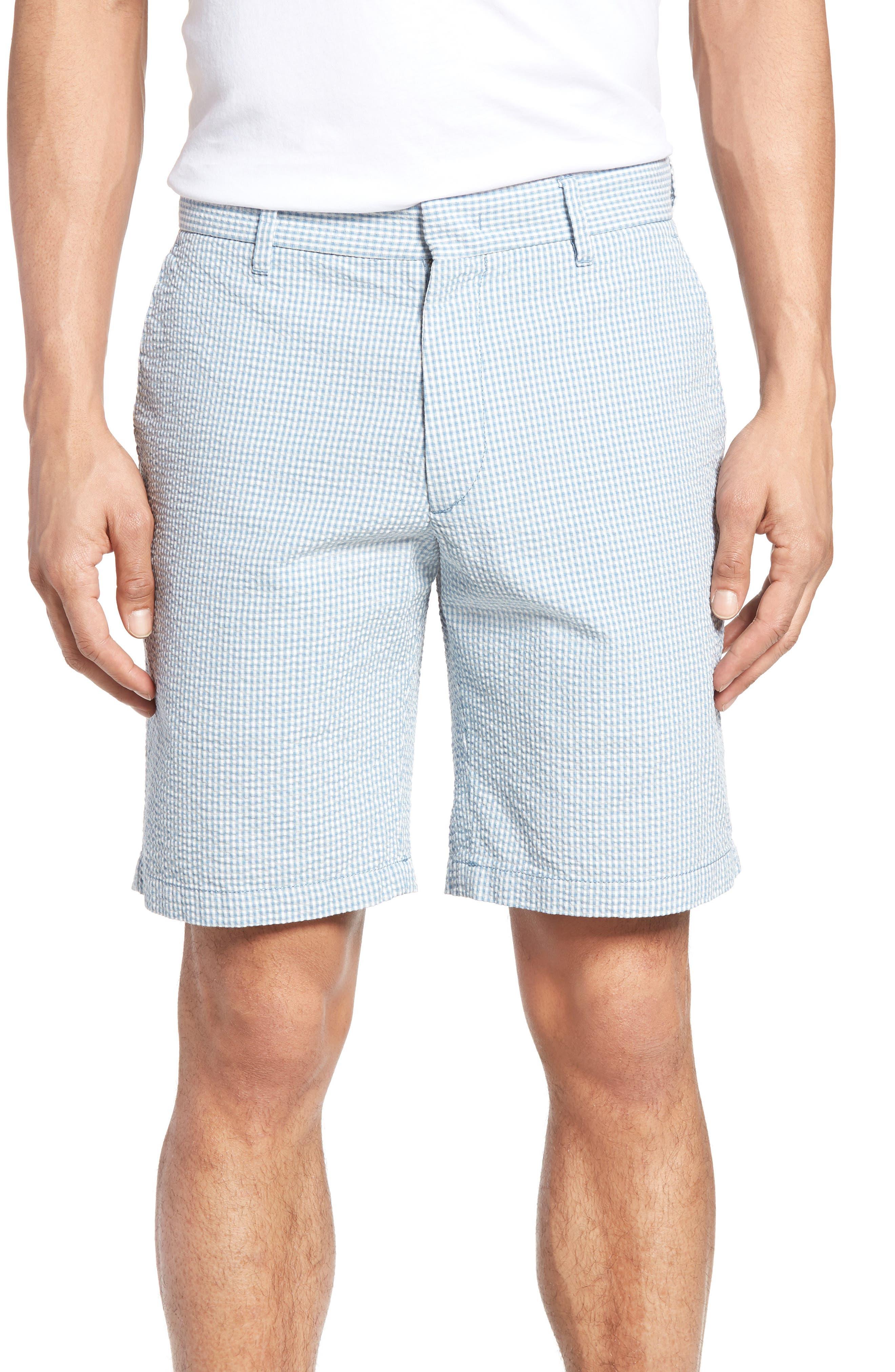 Fringe Check Seersucker Shorts,                             Main thumbnail 1, color,                             400
