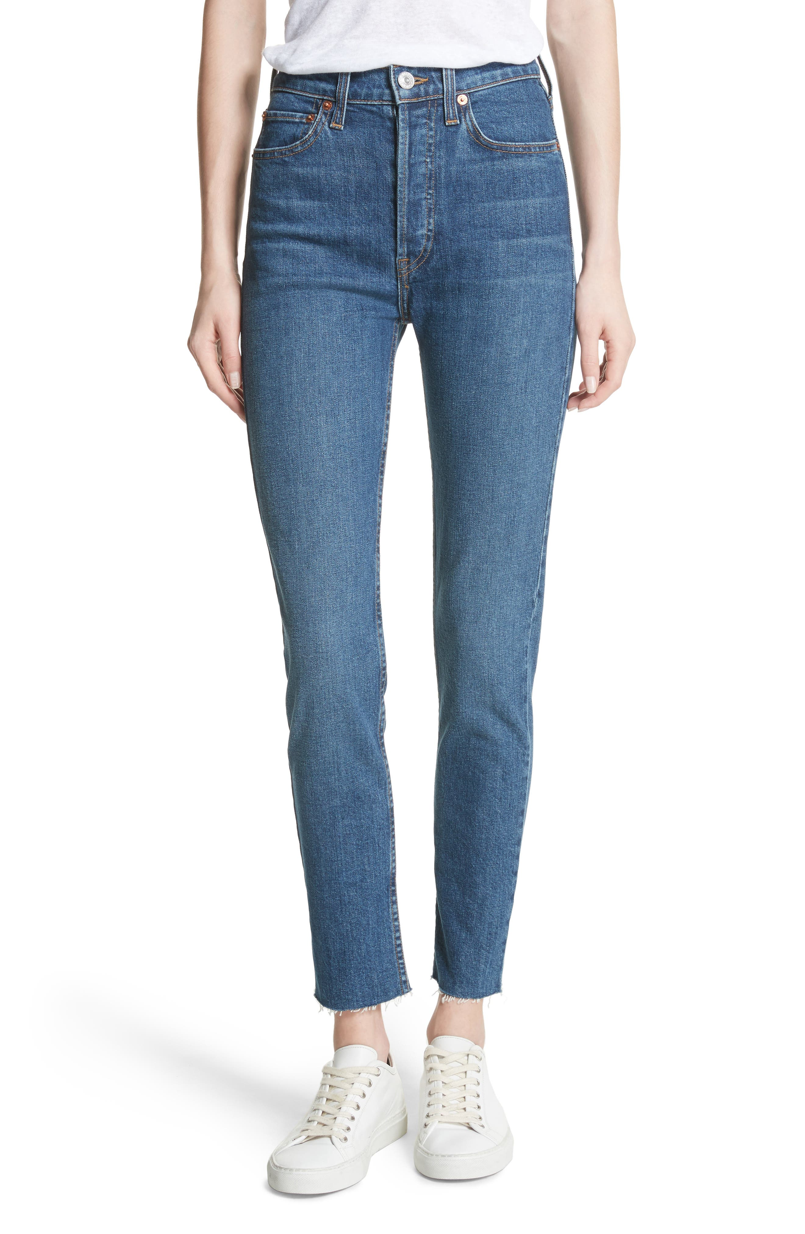 High Waist Stretch Crop Jeans,                             Main thumbnail 1, color,                             FOREVER RINSE