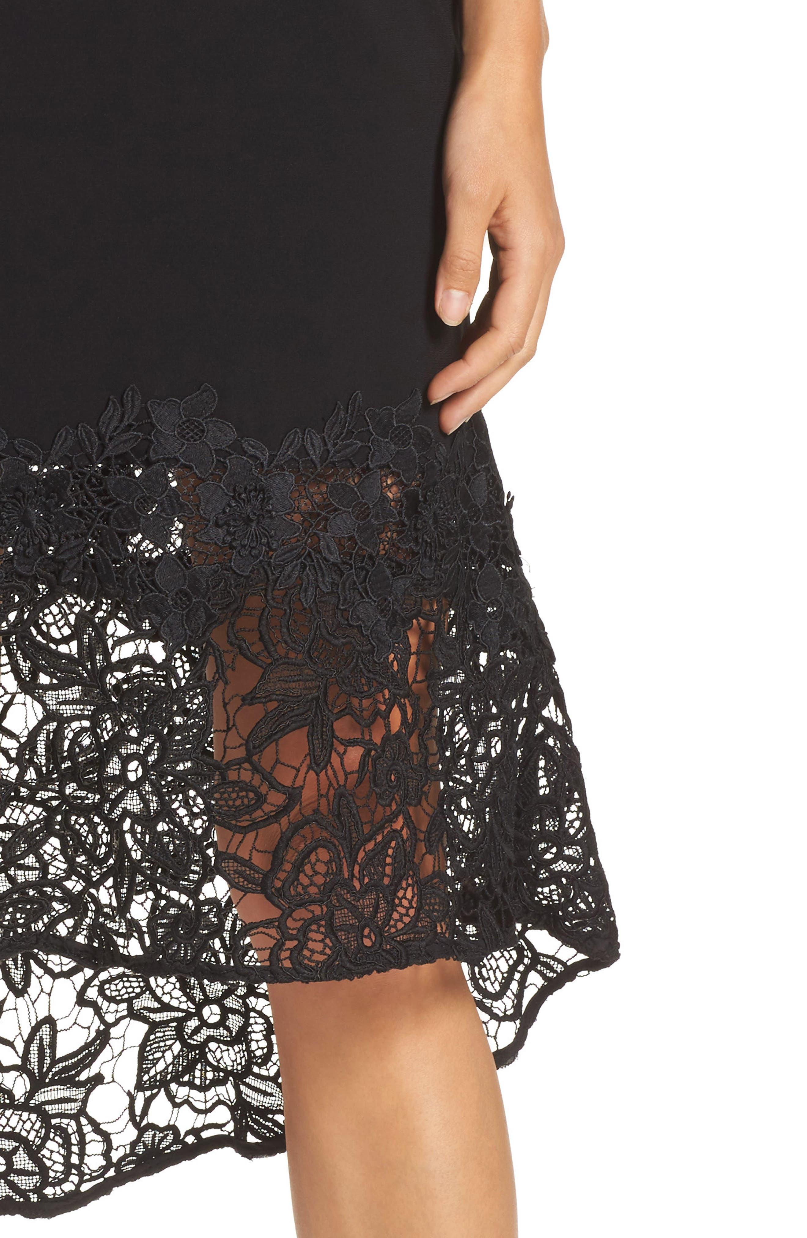Noir Indure Lace Hem Off the Shoulder Dress,                             Alternate thumbnail 4, color,                             001