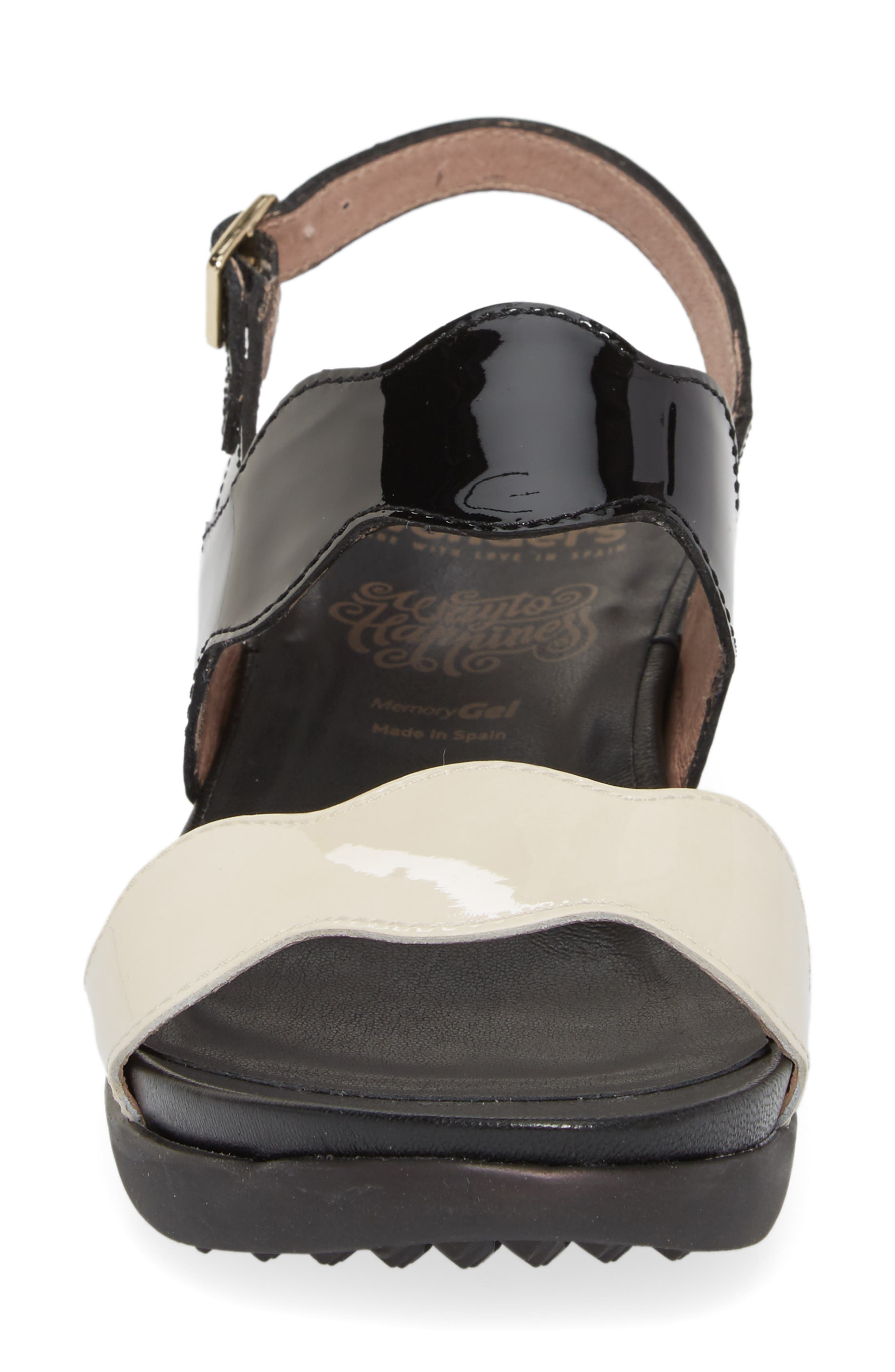 Wedge Sandal,                             Alternate thumbnail 4, color,                             BLACK/ OFF LEATHER