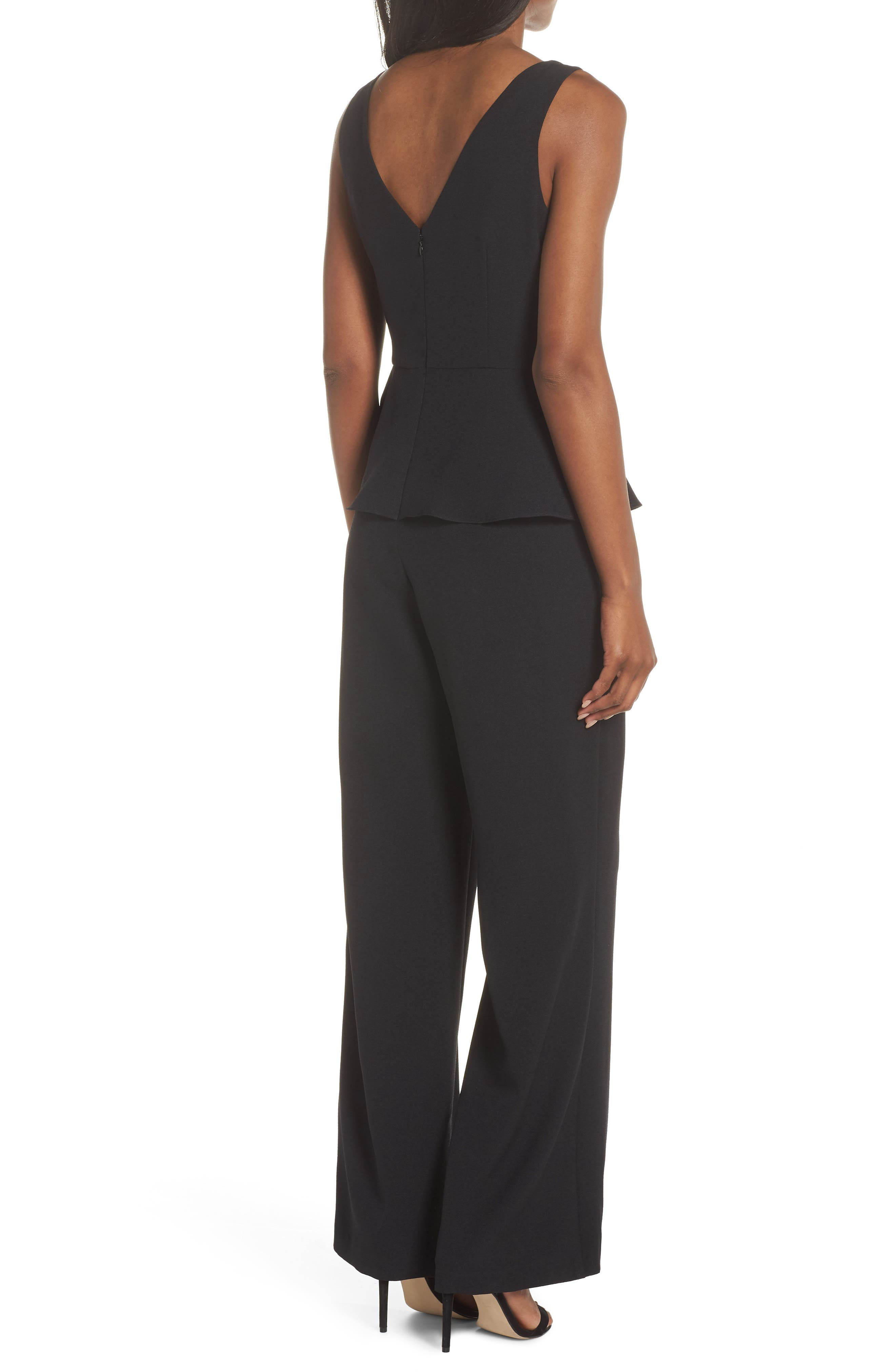 Sleeveless Peplum Jumpsuit,                             Alternate thumbnail 2, color,                             001
