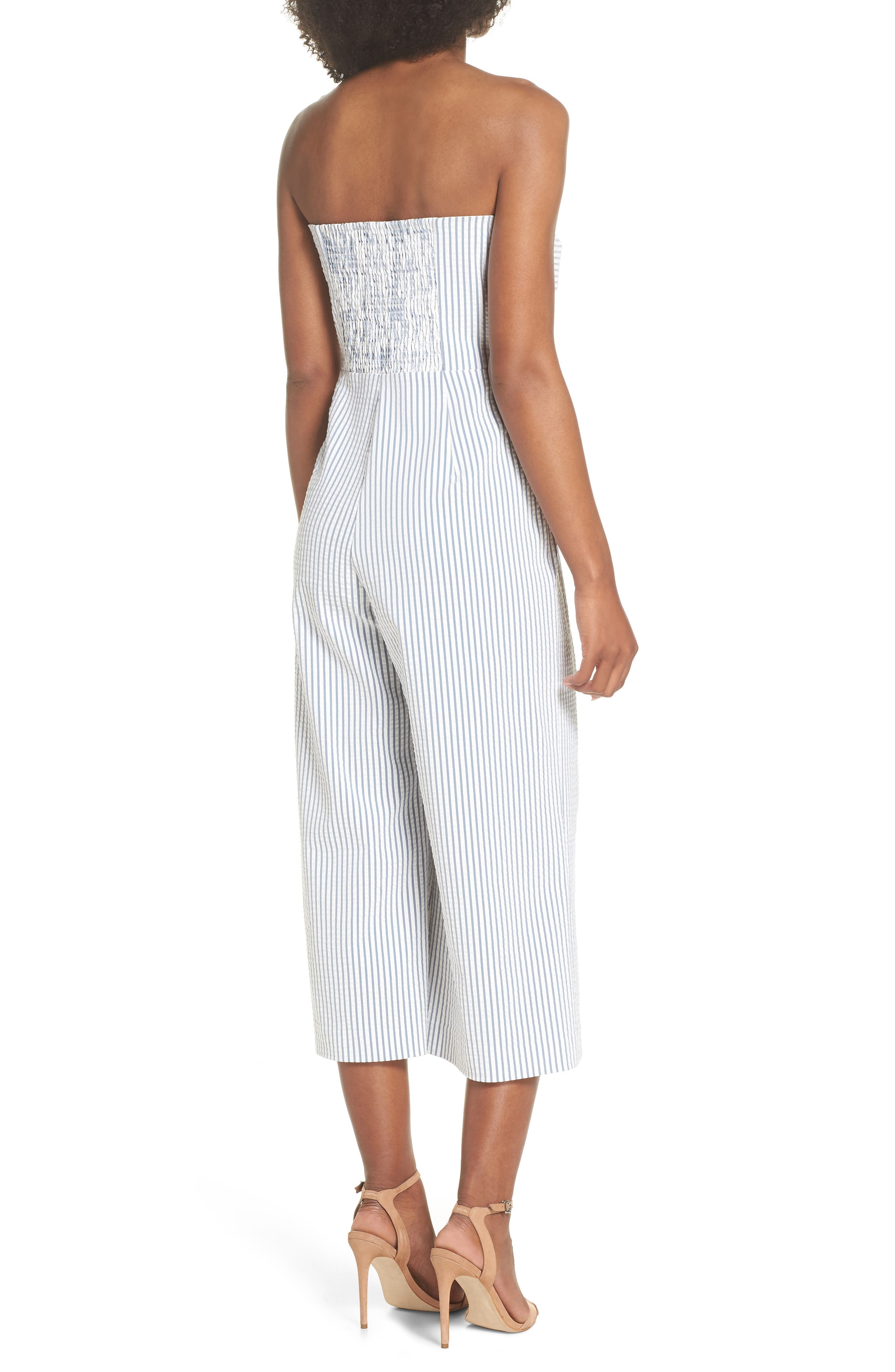 Twist Front Seersucker Crop Jumpsuit,                             Alternate thumbnail 2, color,                             BLUE/ WHITE STRIPE