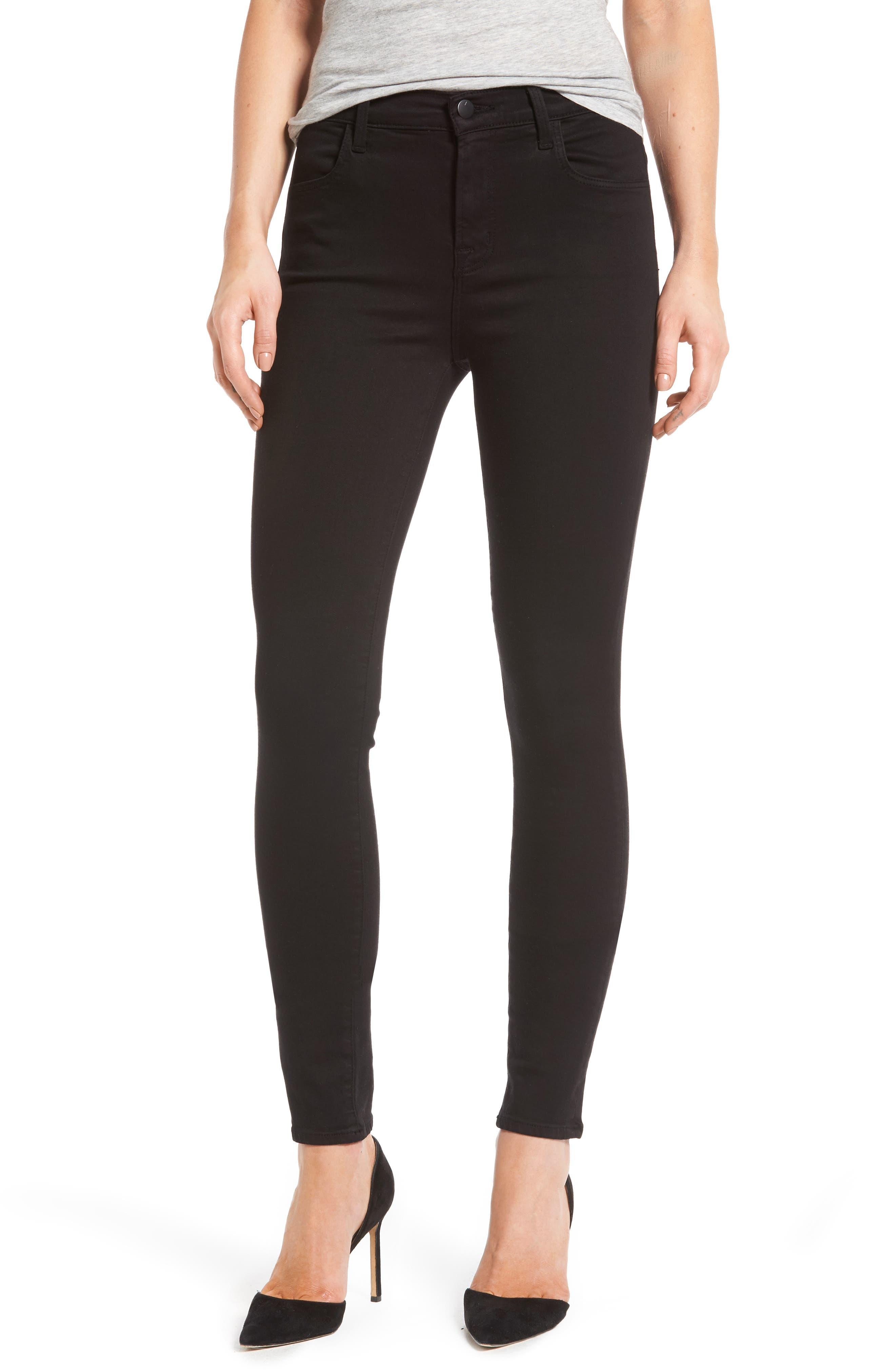 Maria High Waist Skinny Jeans,                         Main,                         color, BLACK