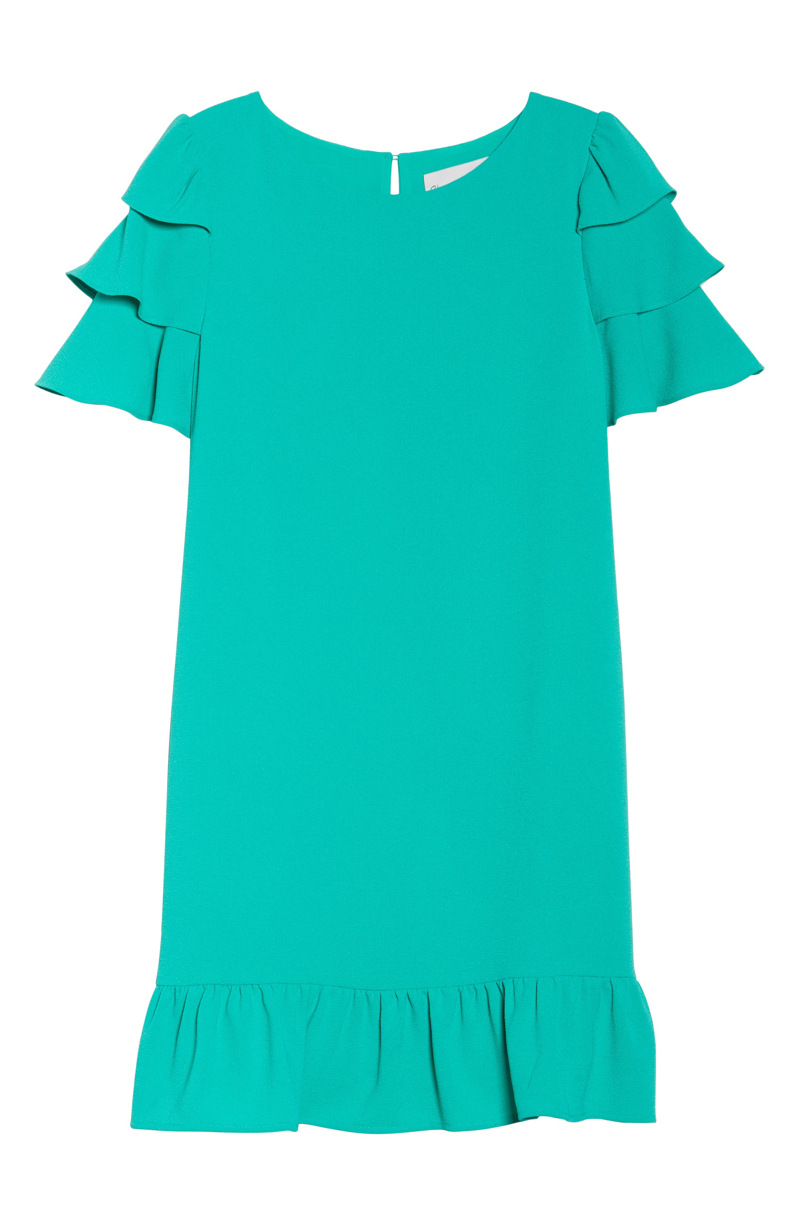 Tiered Ruffle Shift Dress,                             Alternate thumbnail 7, color,                             320