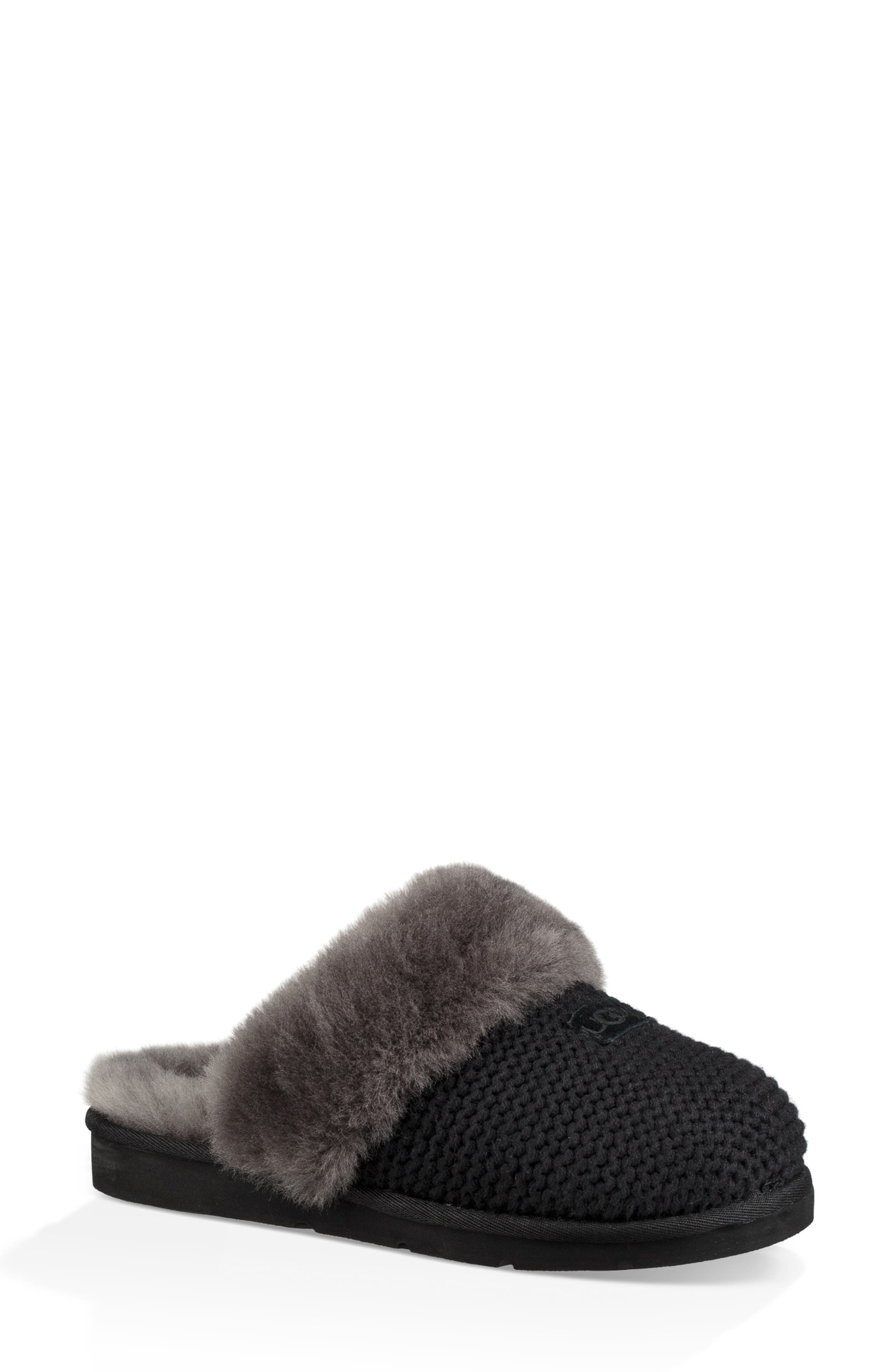 Cozy Knit Genuine Shearling Slipper,                         Main,                         color, BLACK