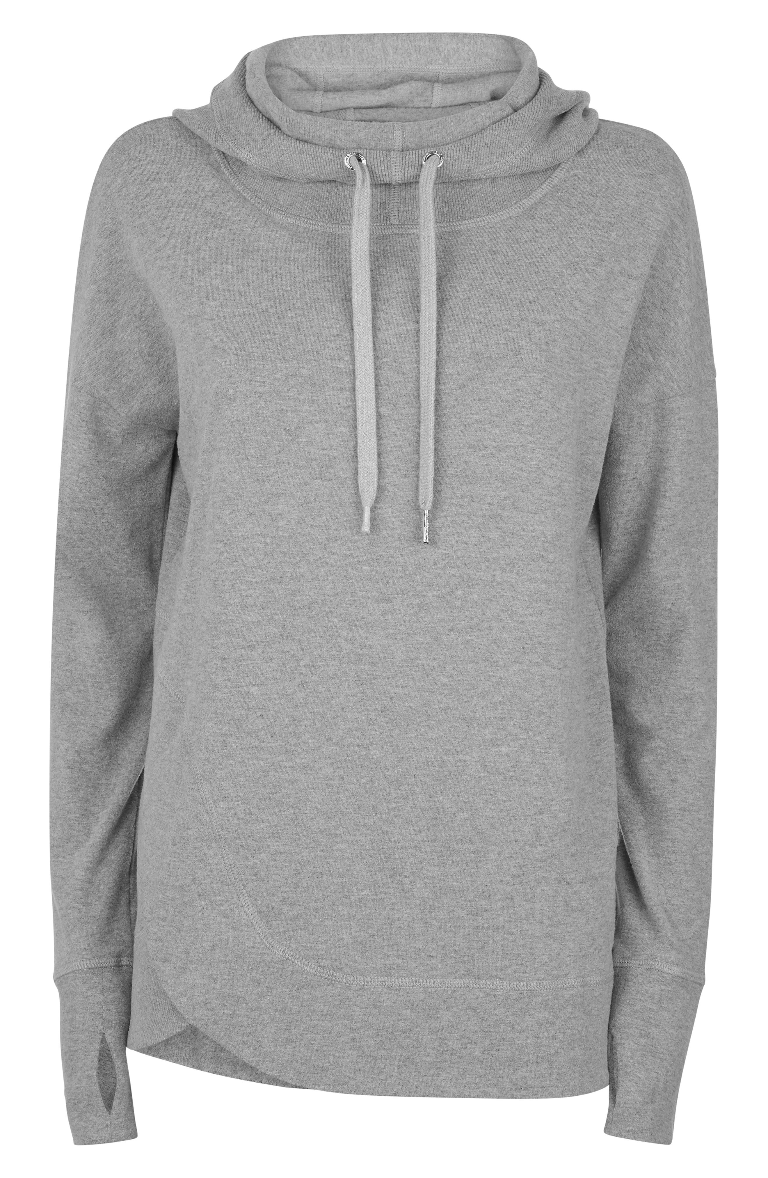Invigorate Luxe Hoodie,                             Alternate thumbnail 4, color,                             LIGHT GREY MARL