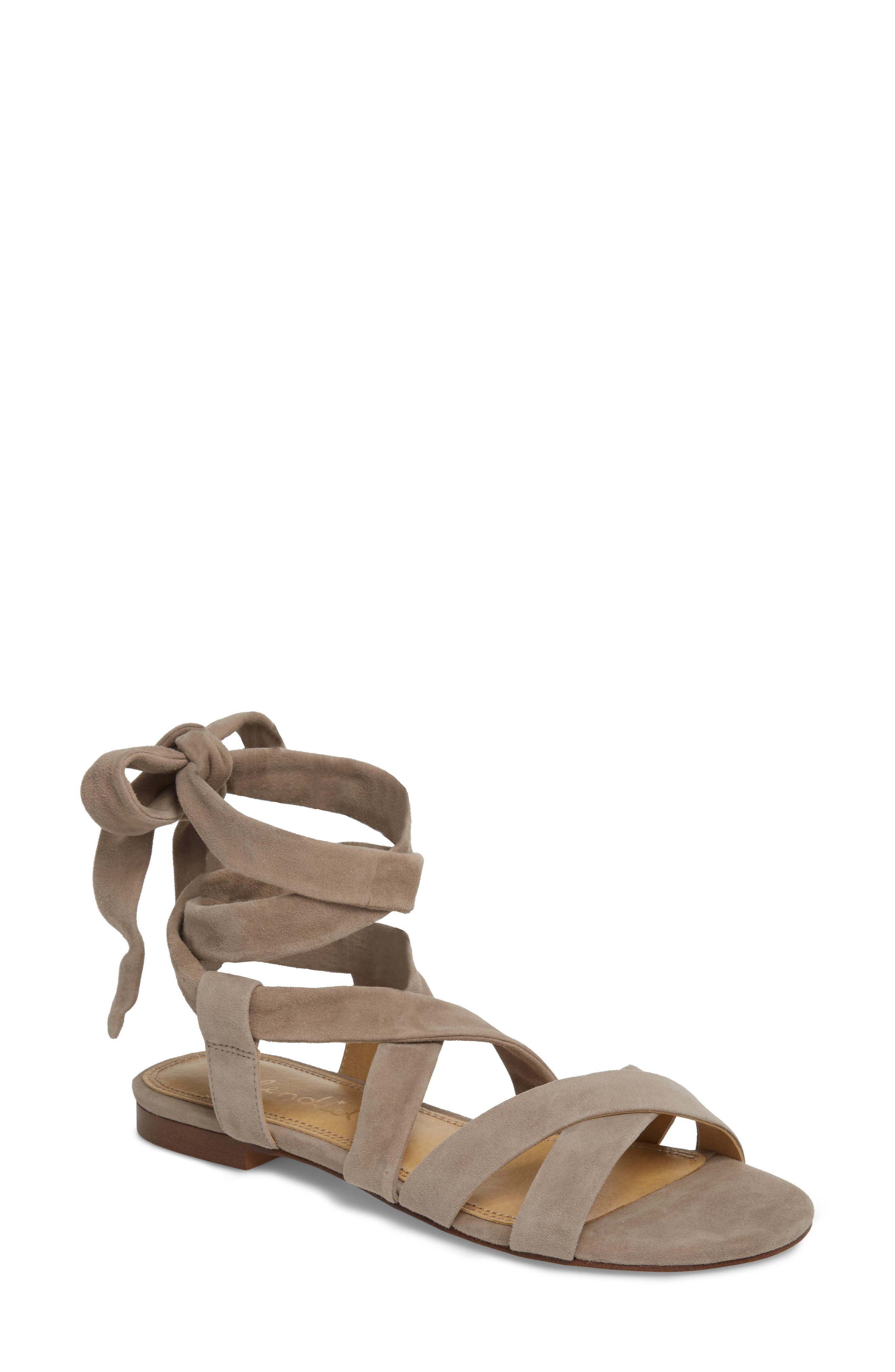 Feodora Ankle Wrap Sandal,                         Main,                         color, TAUPE SUEDE