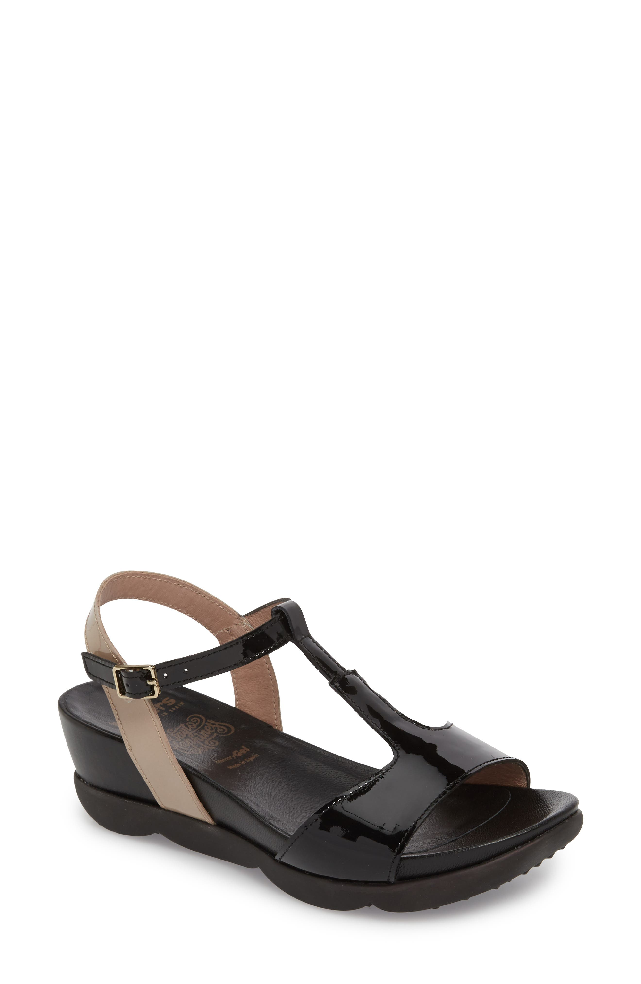 Wedge Sandal, Main, color, BLACK/ TAUPE LEATHER