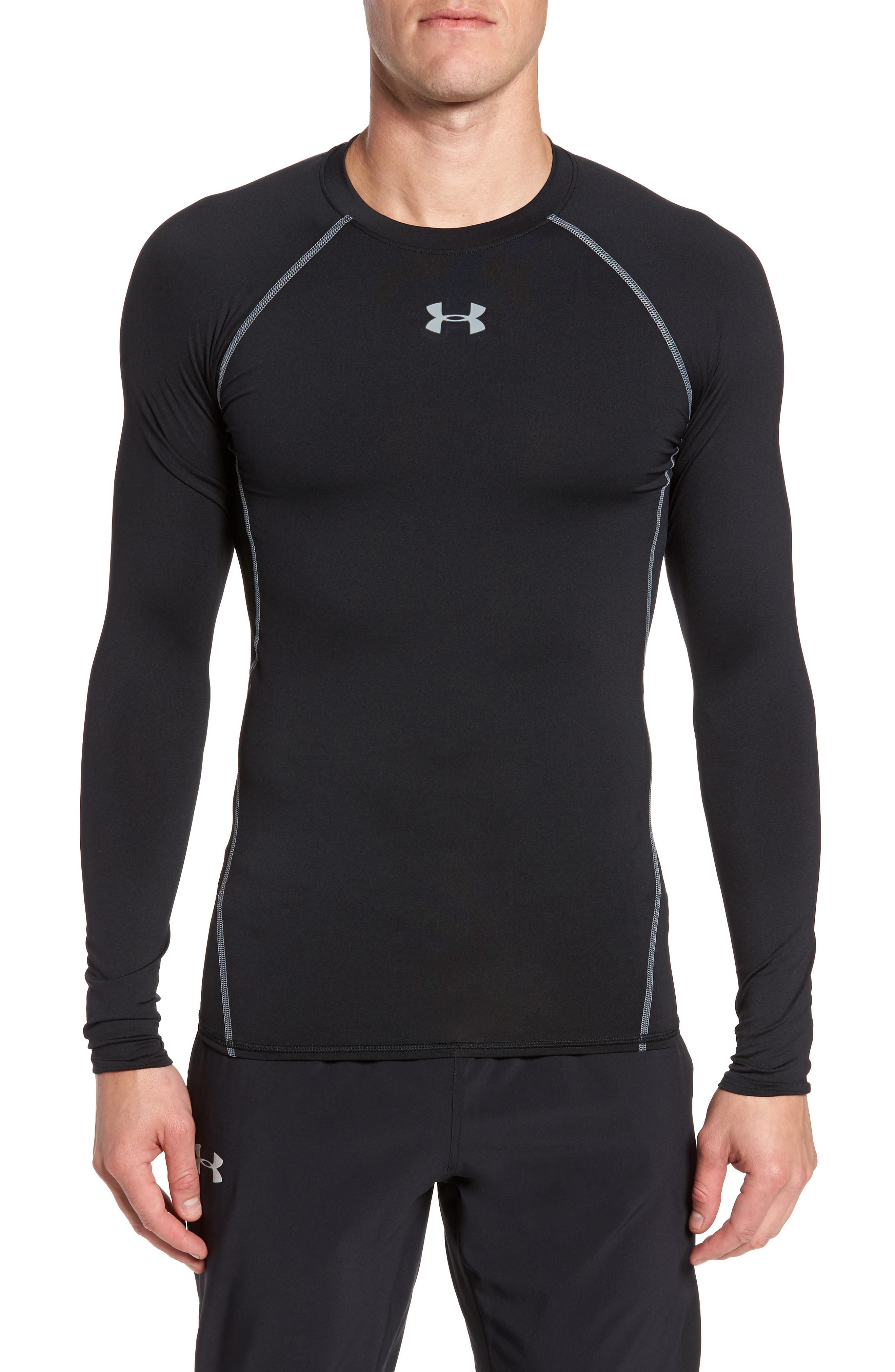 HeatGear<sup>®</sup> Compression Fit Long Sleeve T-Shirt,                         Main,                         color, BLACK/ STEEL