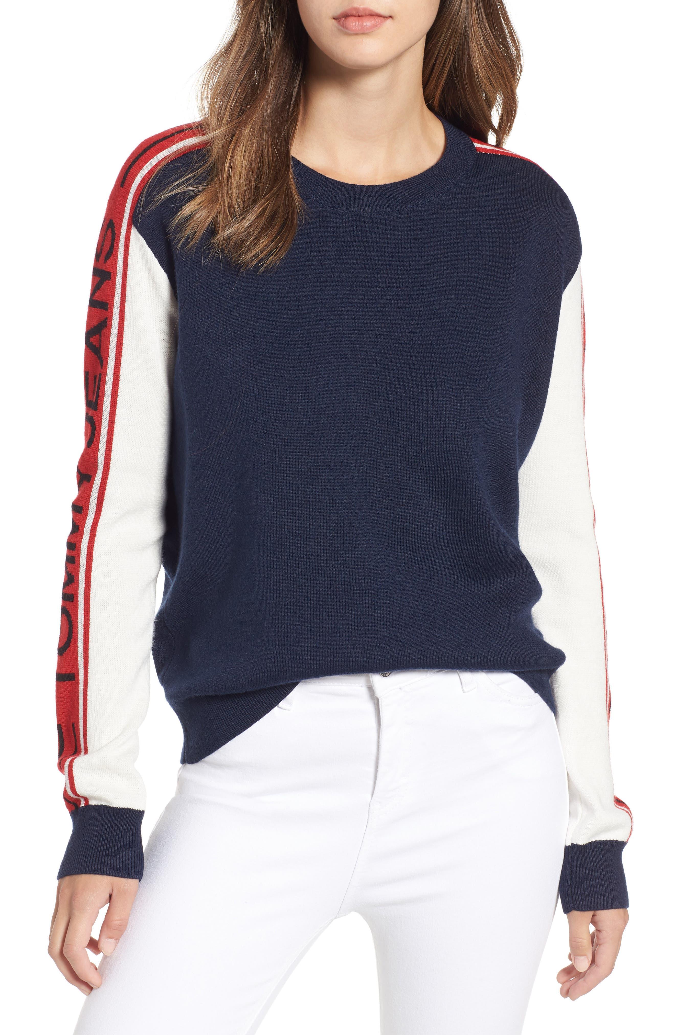 TJW Colorblock Sweater,                             Main thumbnail 1, color,                             BLUE