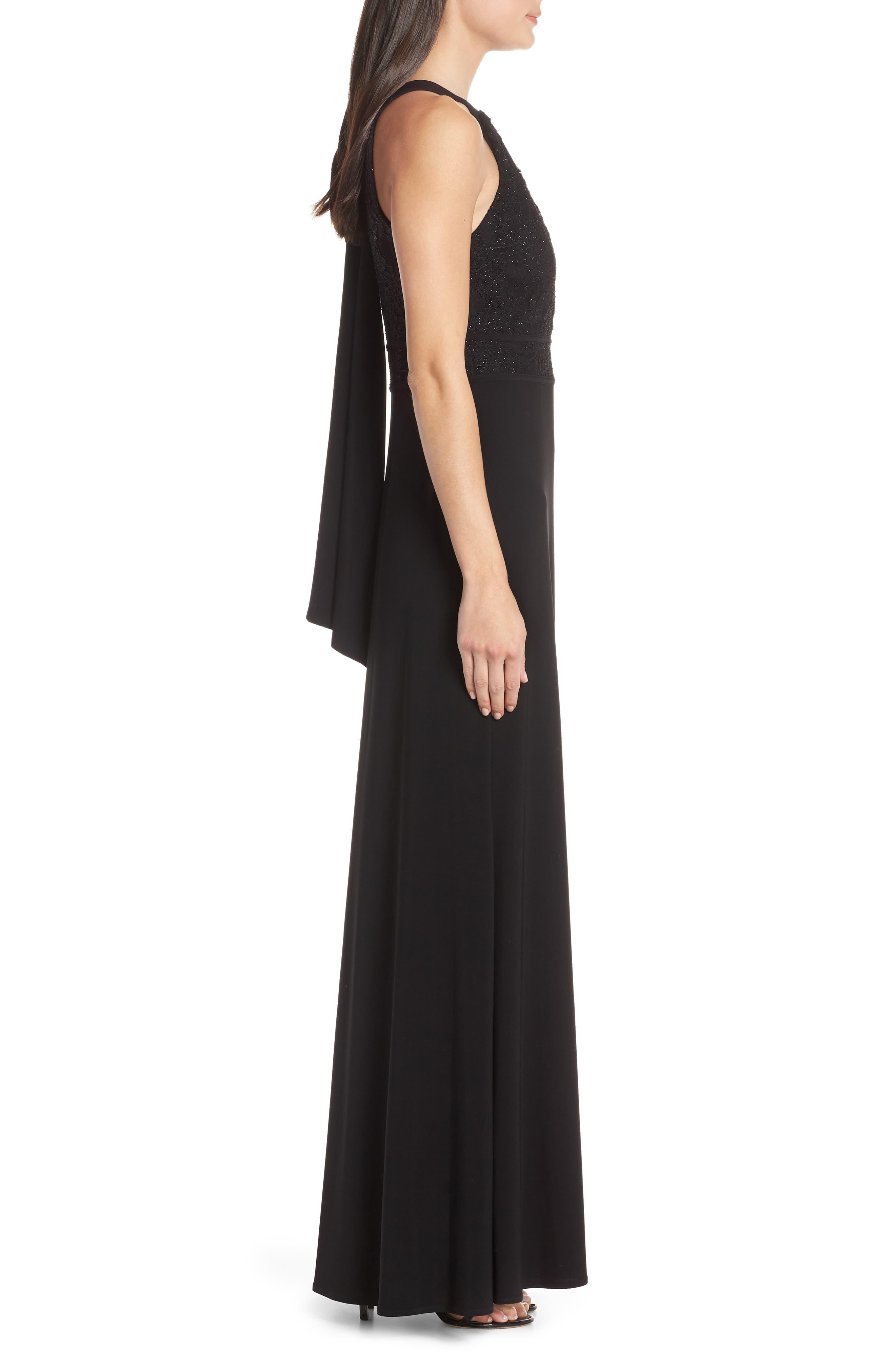 MORGAN & CO.,                             Pleat Lace Bodice Evening Dress,                             Alternate thumbnail 3, color,                             BLACK