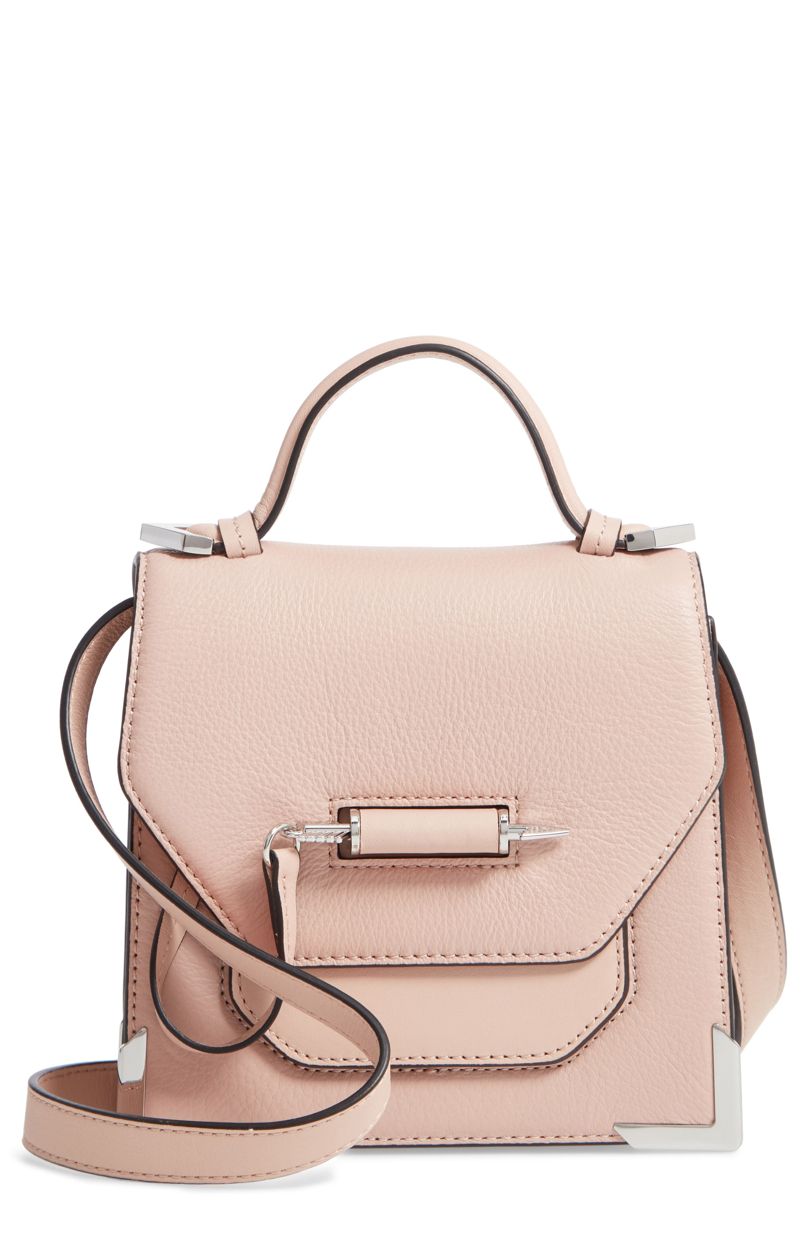Mini Rubie Leather Shoulder Bag,                             Main thumbnail 1, color,                             PETAL/ GUNMETAL