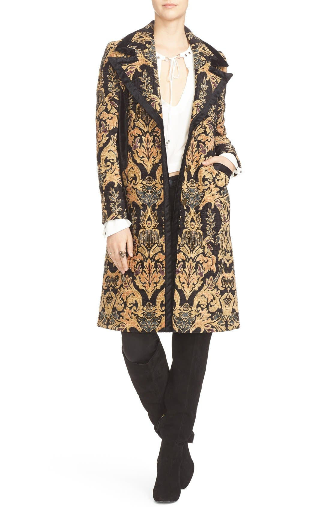 FREE PEOPLE,                             Jacquard Coat,                             Alternate thumbnail 5, color,                             001
