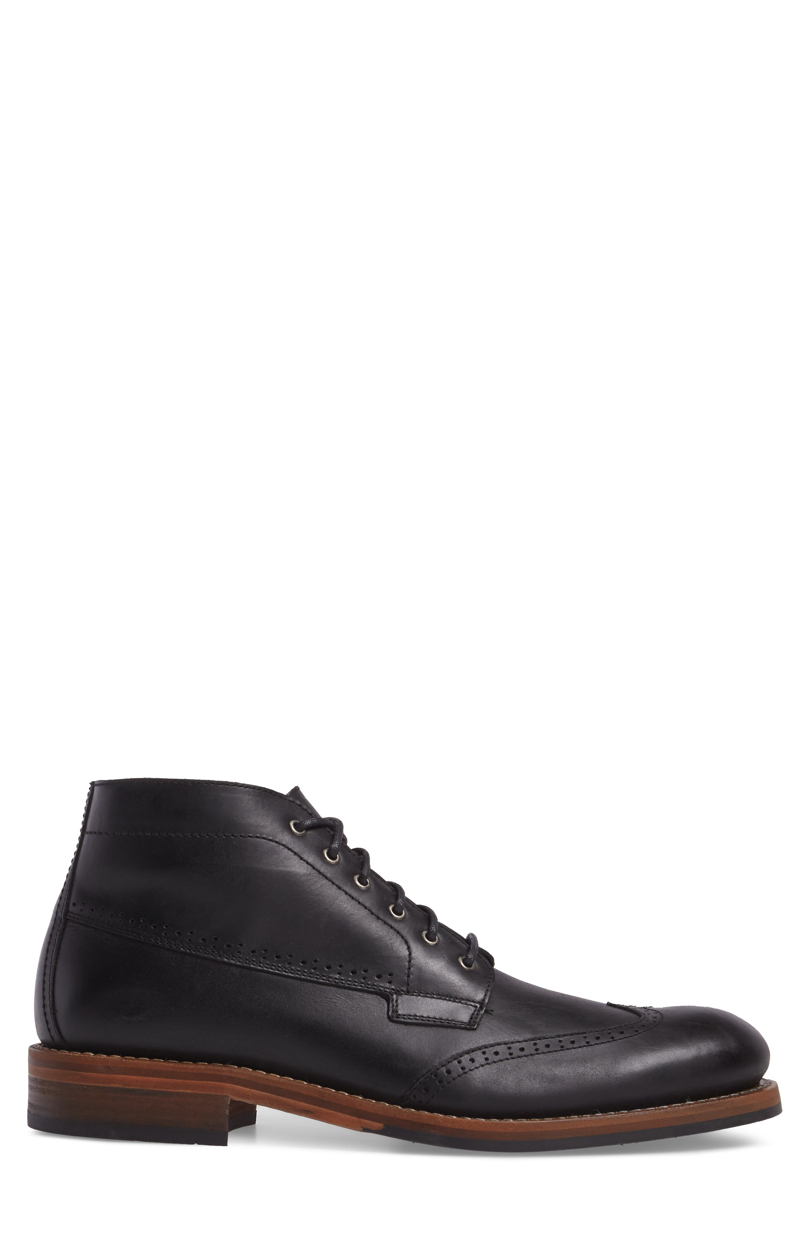 Harwell Wingtip Boot,                             Alternate thumbnail 3, color,                             BLACK