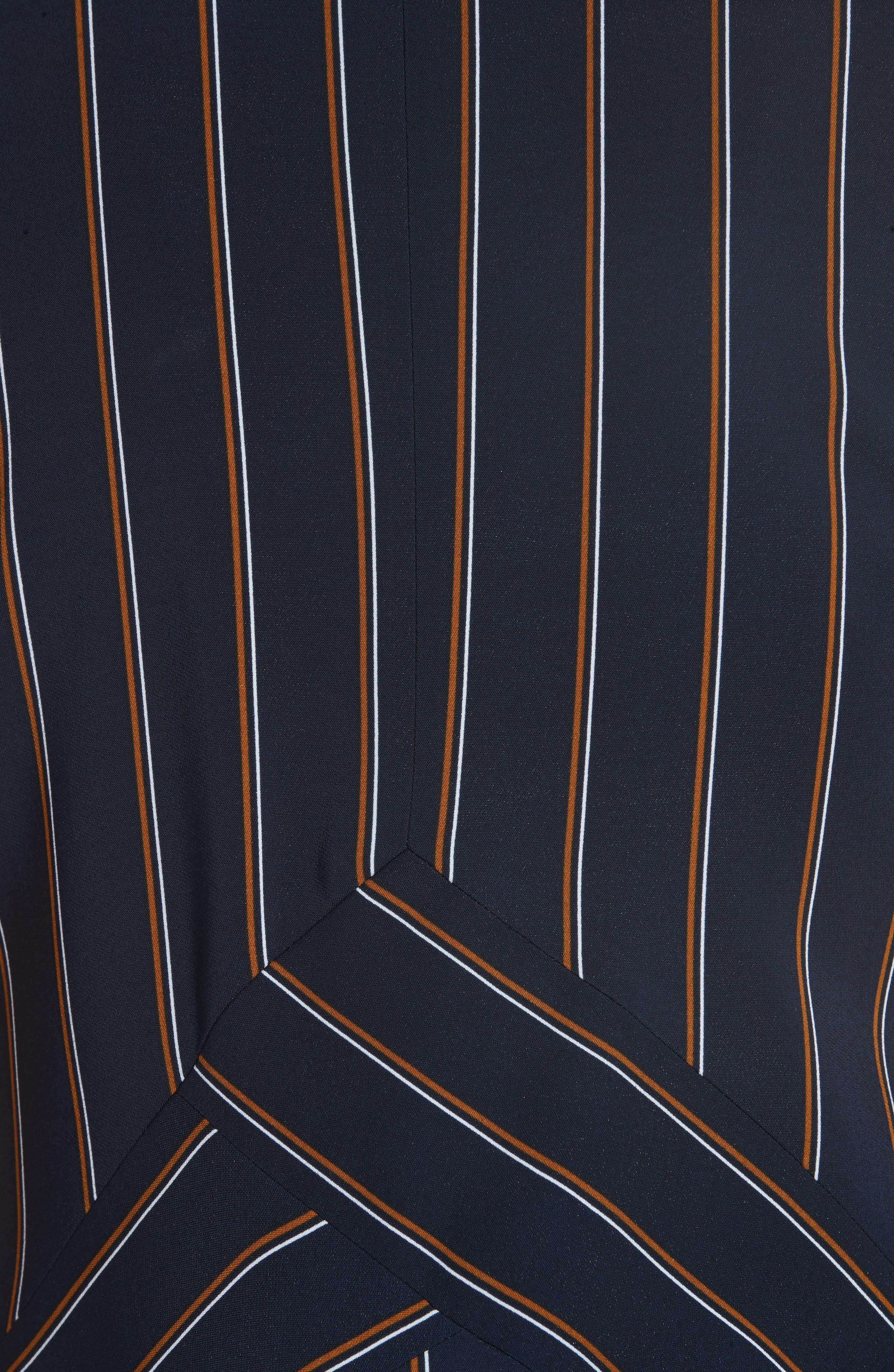 Ashlena Asymmetrical Stripe Dress,                             Alternate thumbnail 4, color,                             INK MULTI