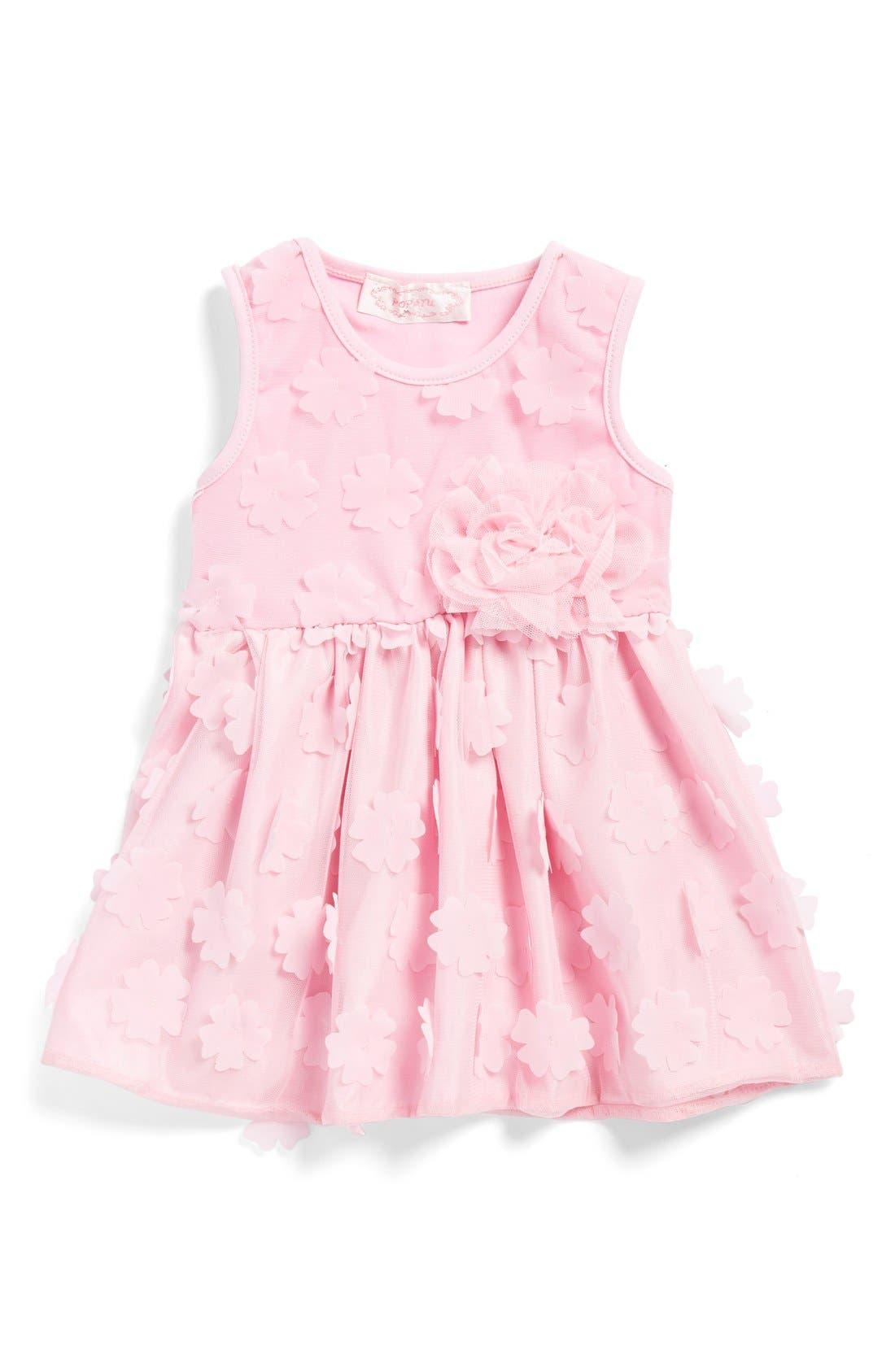 Flower Petal Dress,                             Main thumbnail 1, color,                             PINK