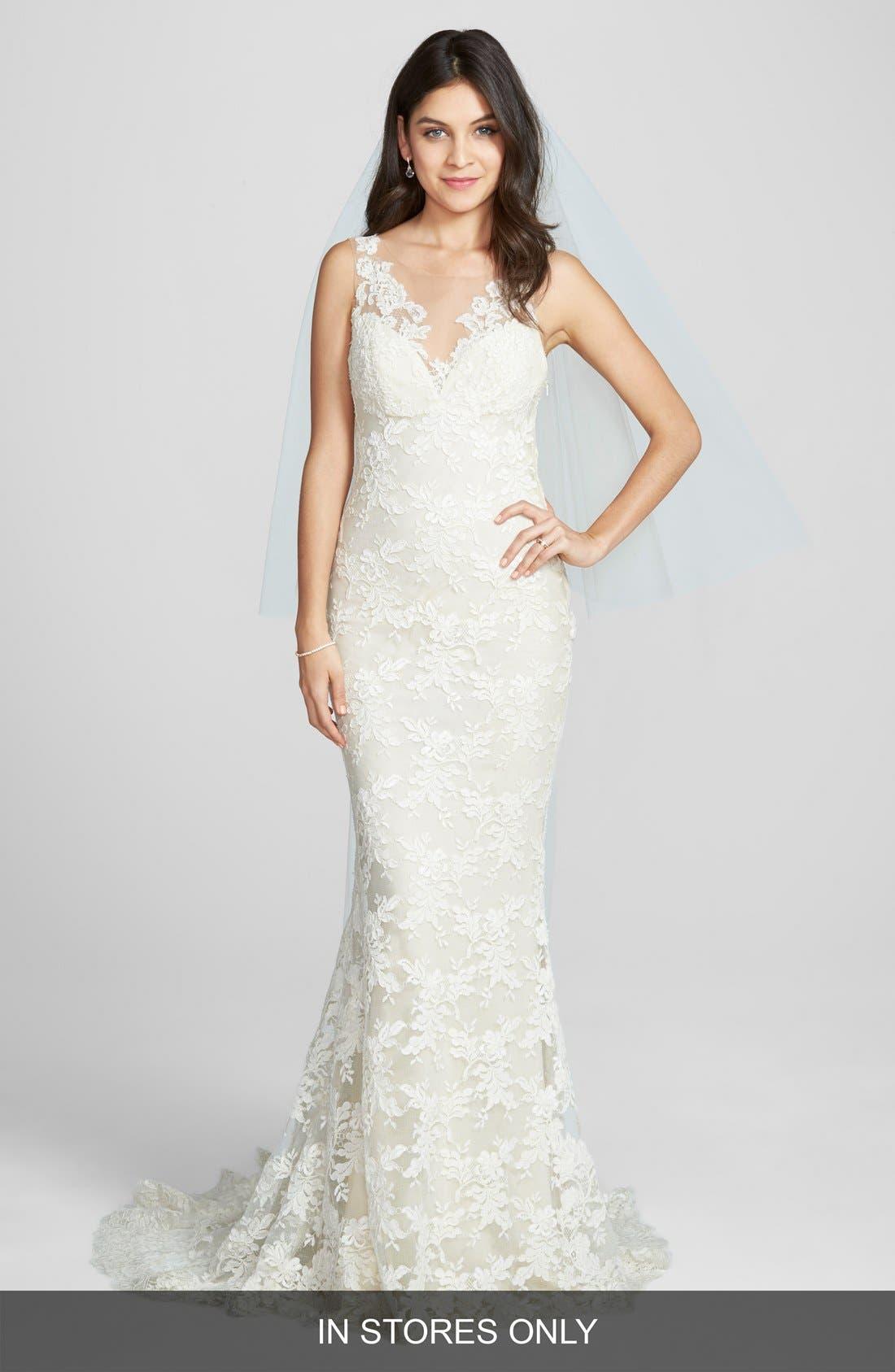 'Nicole' Aleçon Lace Mermaid Dress,                             Main thumbnail 1, color,                             IVORY/ VANILLA