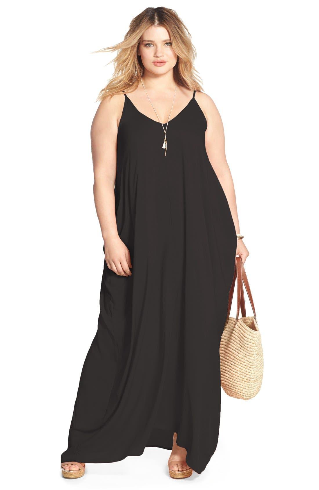Cover-Up Maxi Dress,                             Alternate thumbnail 10, color,                             BLACK