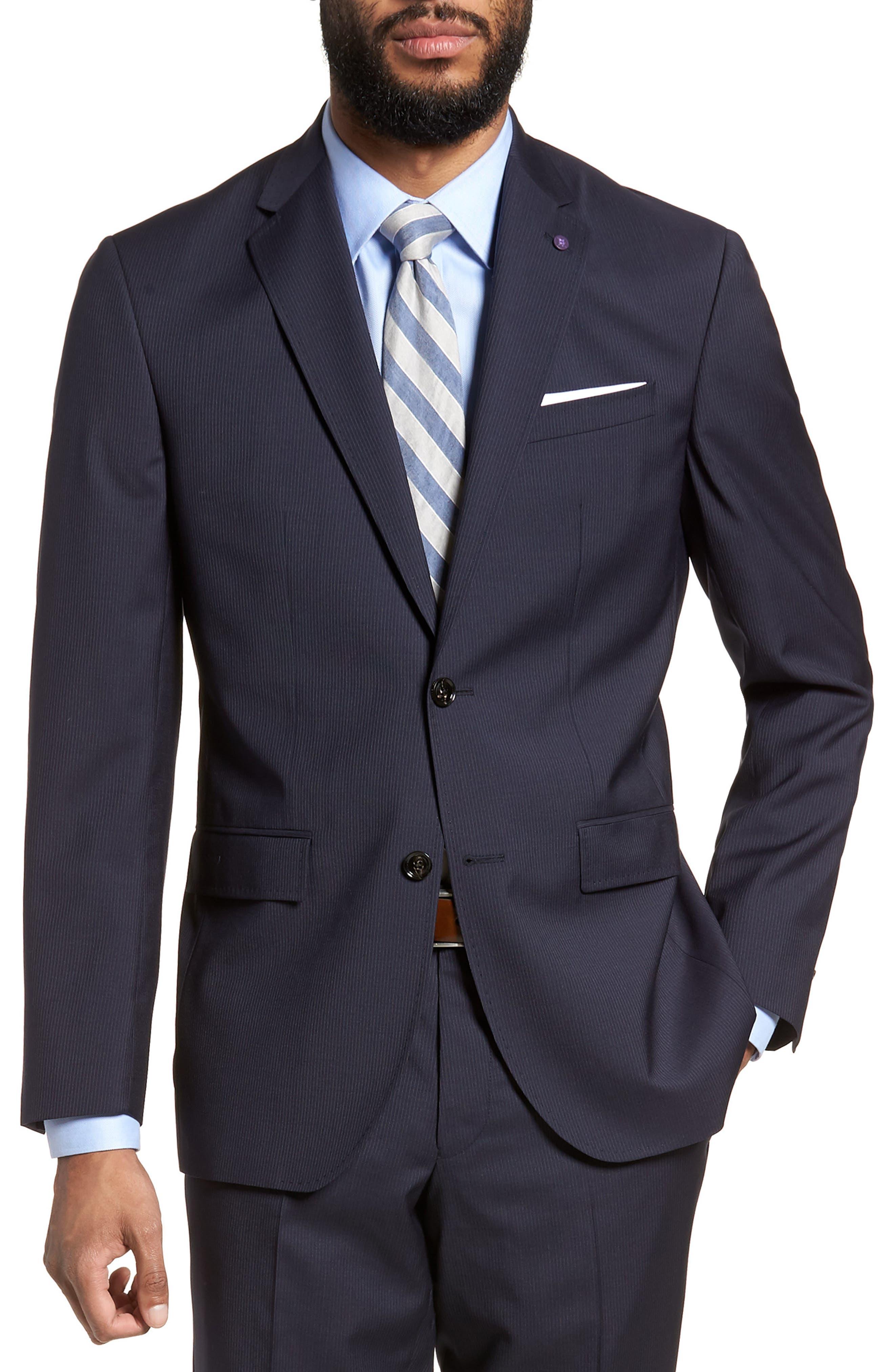 Jay Trim Fit Stripe Wool Suit,                             Alternate thumbnail 5, color,                             NAVY