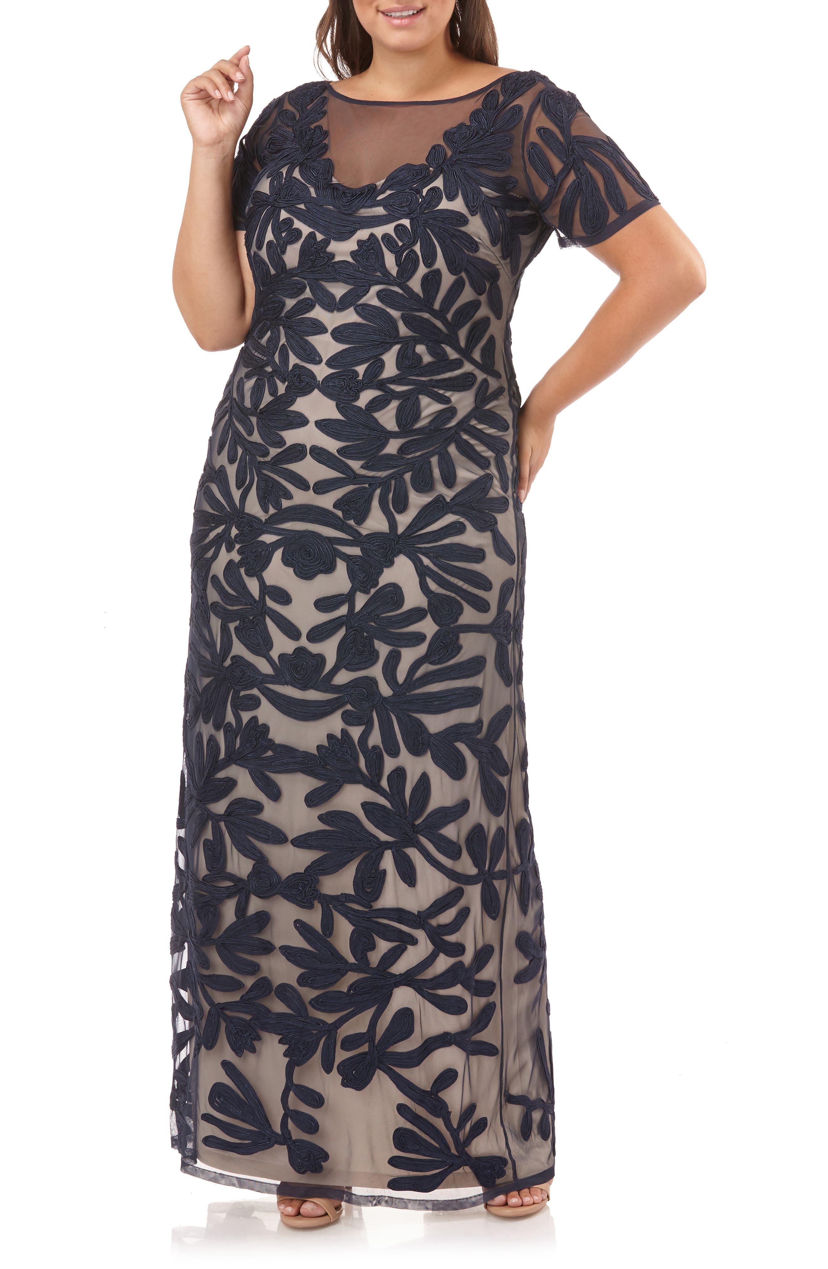 JS COLLECTIONS,                             Illusion Soutache Evening Dress,                             Alternate thumbnail 6, color,                             NAVY/ NUDE