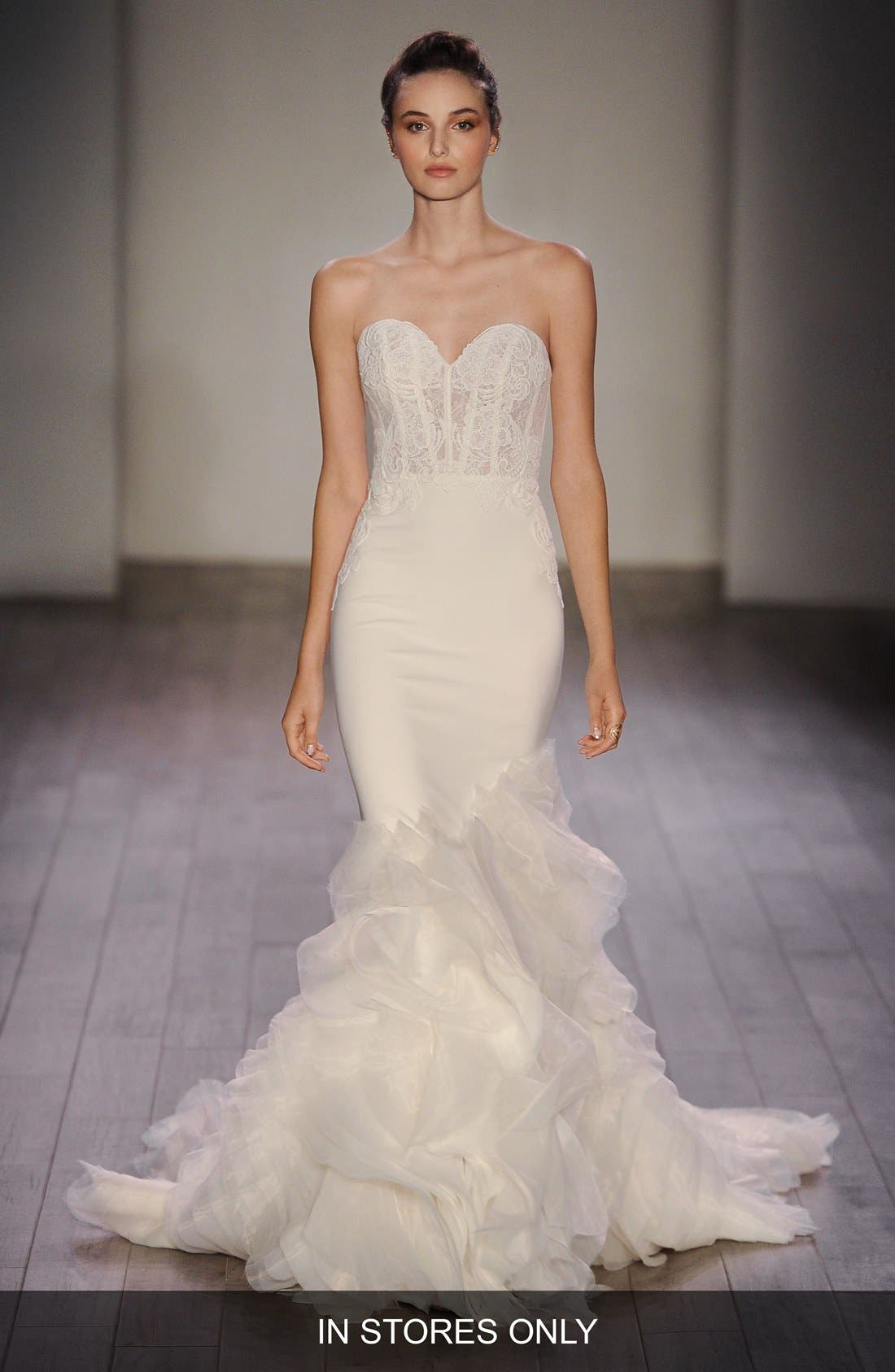 Strapless Lace, Crepe & Organza Trumpet Gown,                             Main thumbnail 1, color,                             IVORY