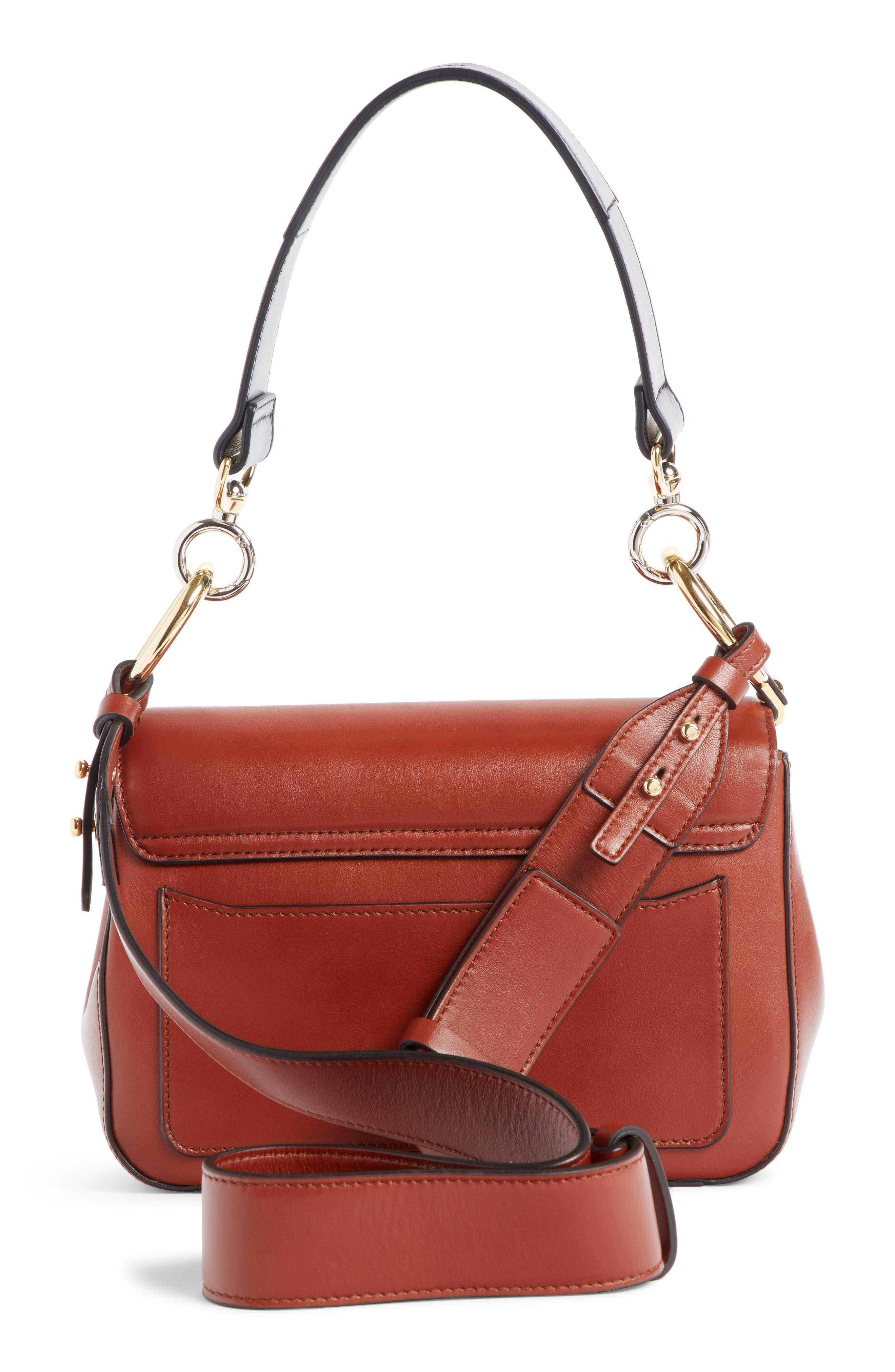 Leather Shoulder Bag,                             Alternate thumbnail 3, color,                             SEPIA BROWN