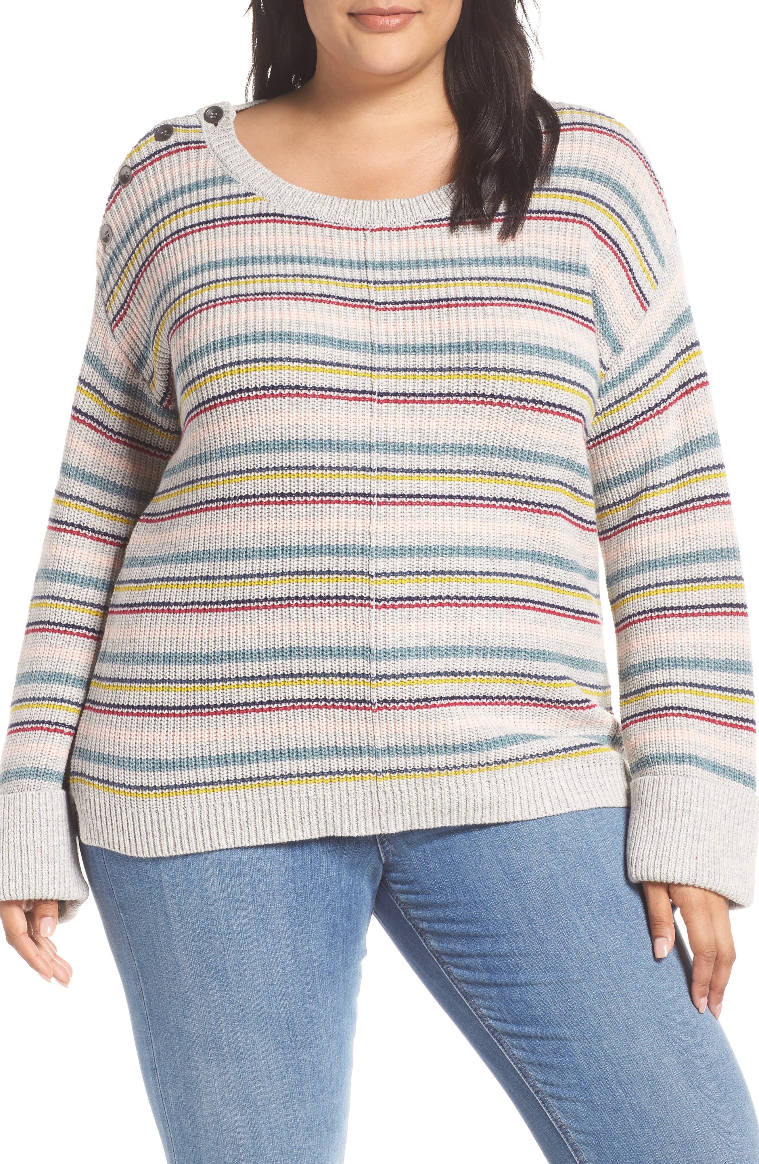 Button Shoulder Sweater, Main, color, 050