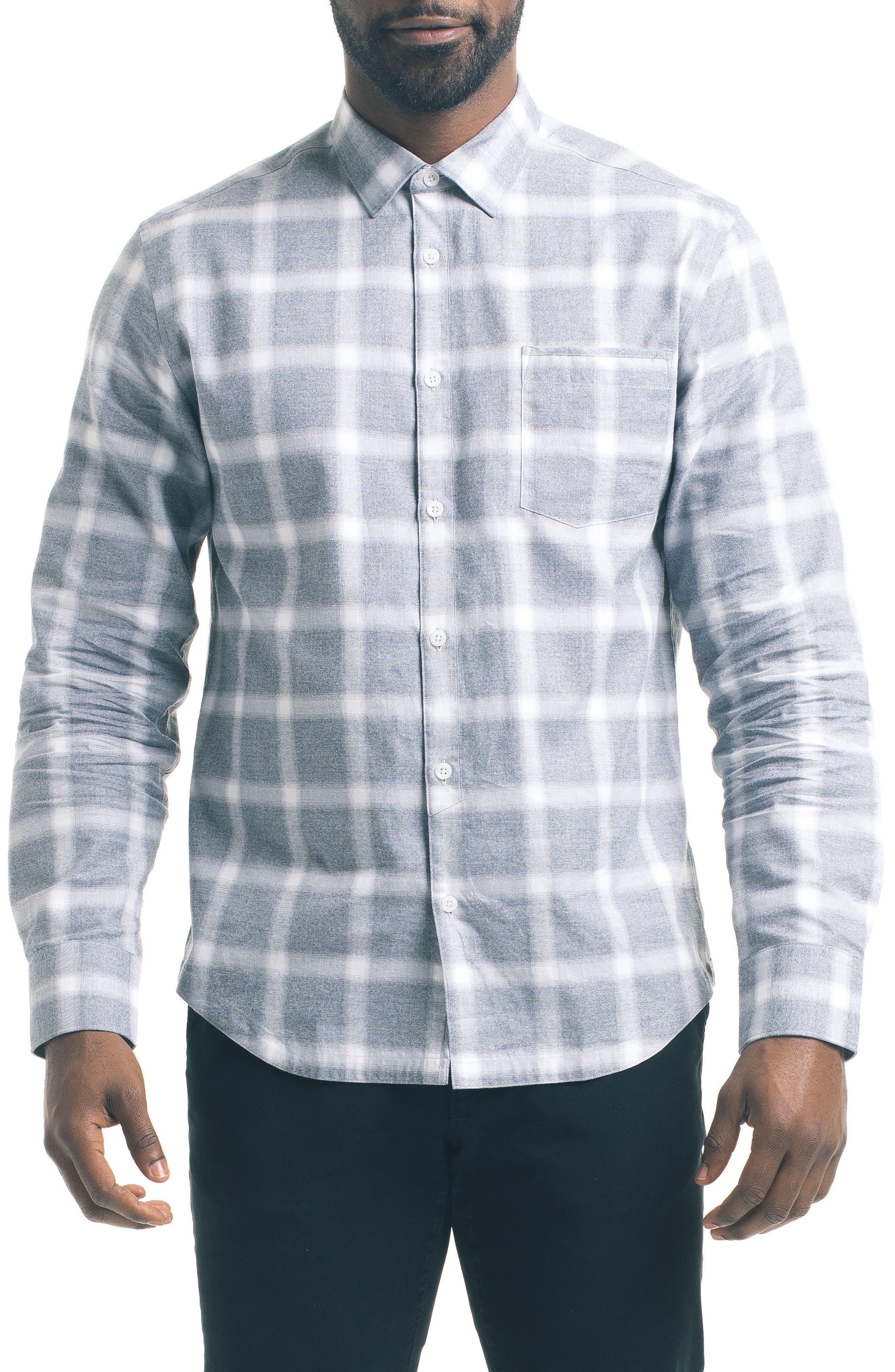 Slim Windowpane Sport Shirt,                         Main,                         color, 020