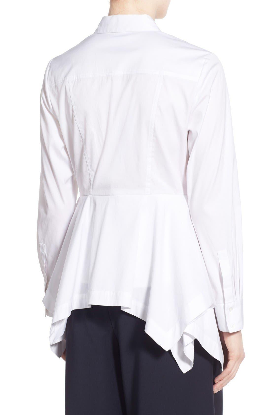 Poplin Peplum Shirt,                             Alternate thumbnail 4, color,                             100
