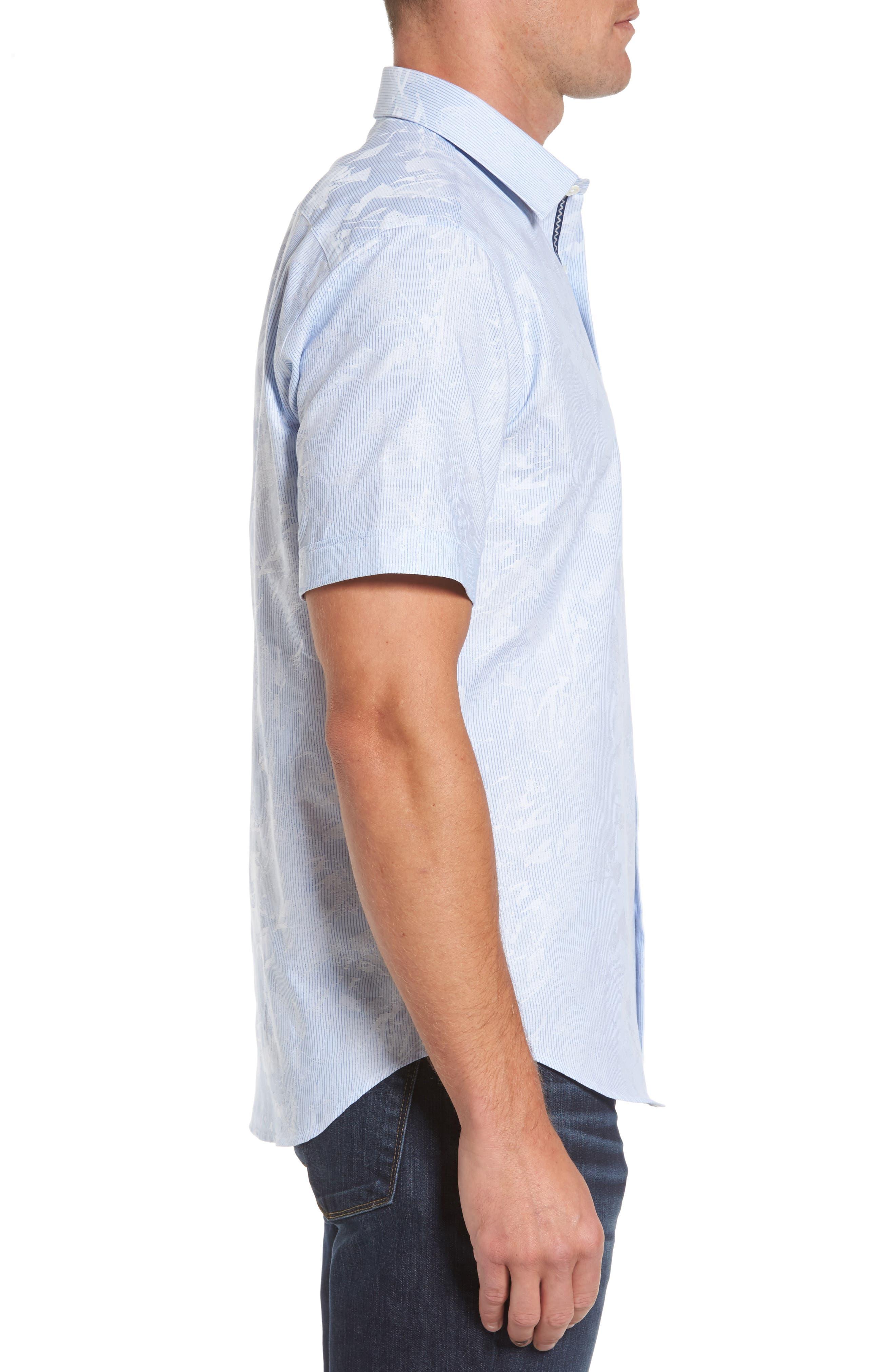Shaped Fit Jacquard Stripe Sport Shirt,                             Alternate thumbnail 3, color,                             459