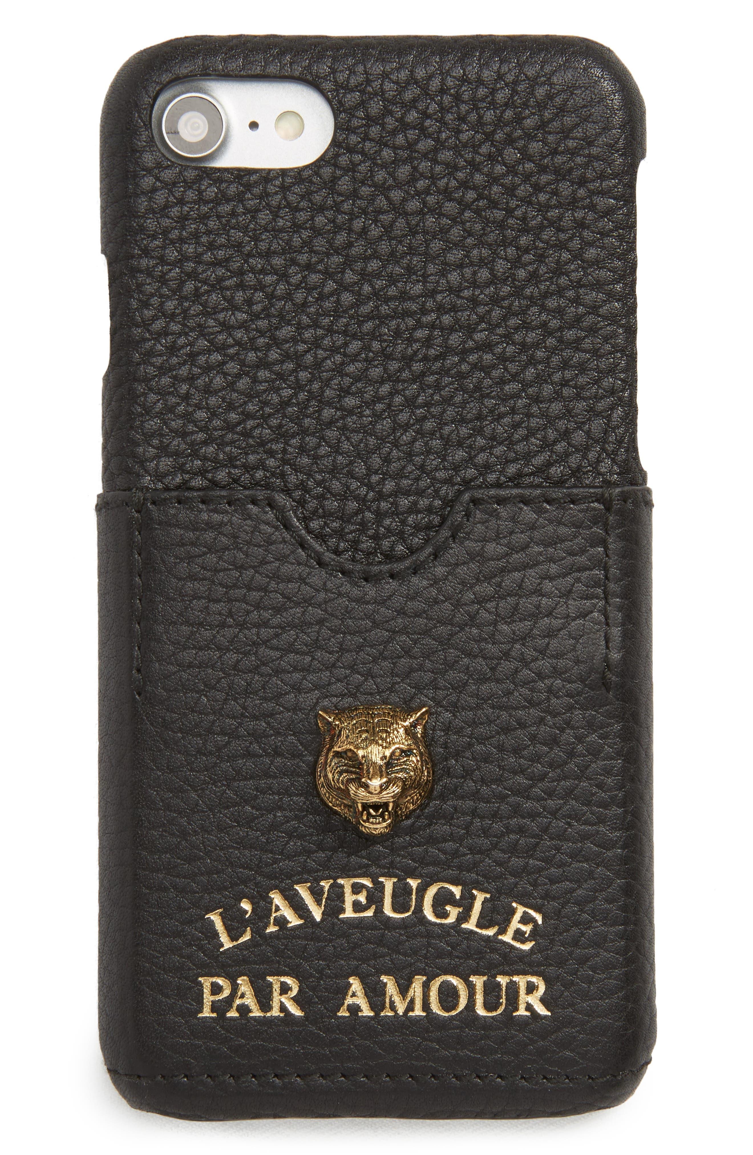 Tiger L'Aveugle Par Amour Leather iPhone 7 Case,                             Main thumbnail 1, color,                             001