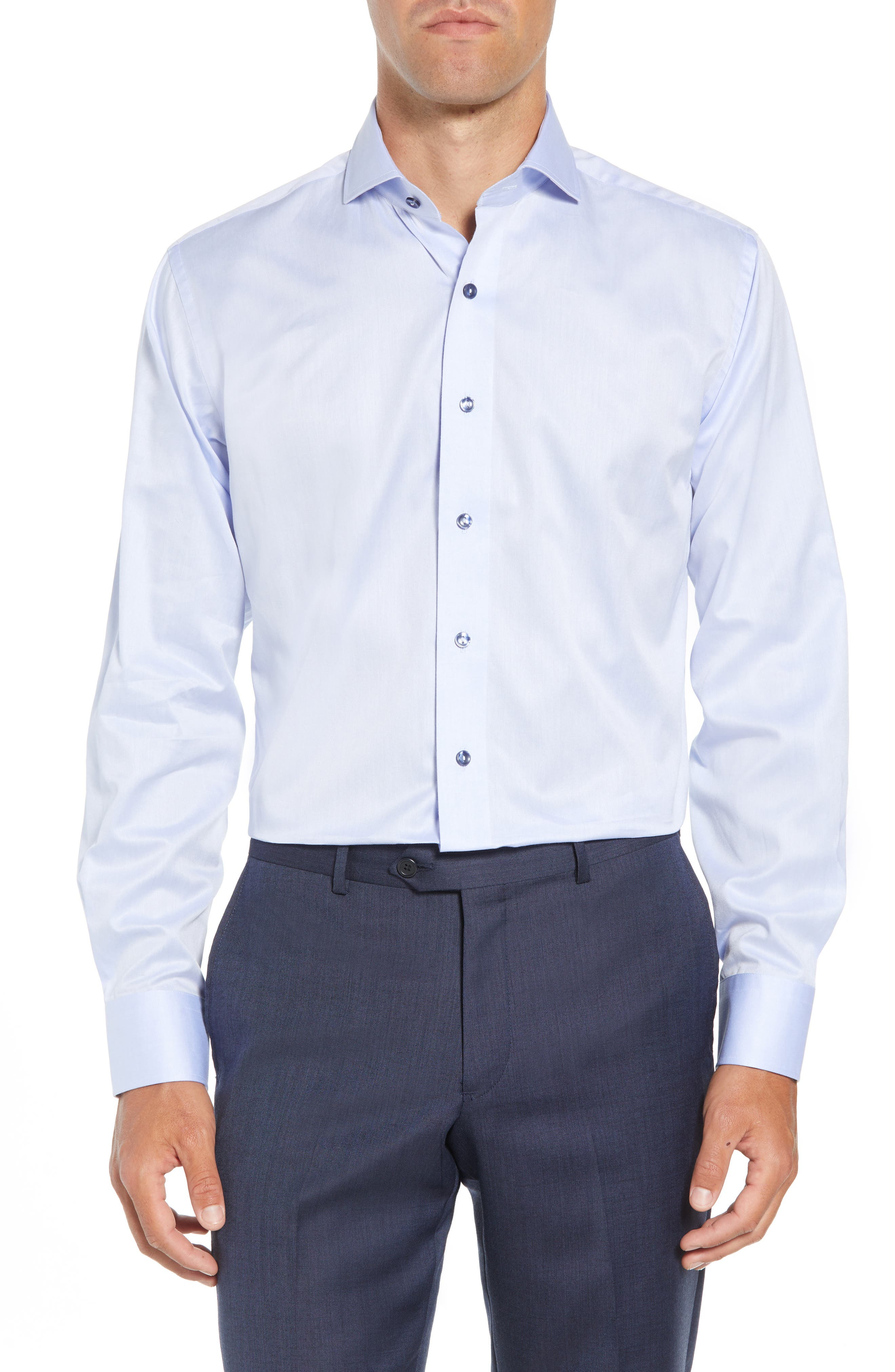 LORENZO UOMO,                             Trim Fit Solid Dress Shirt,                             Main thumbnail 1, color,                             LIGHT BLUE