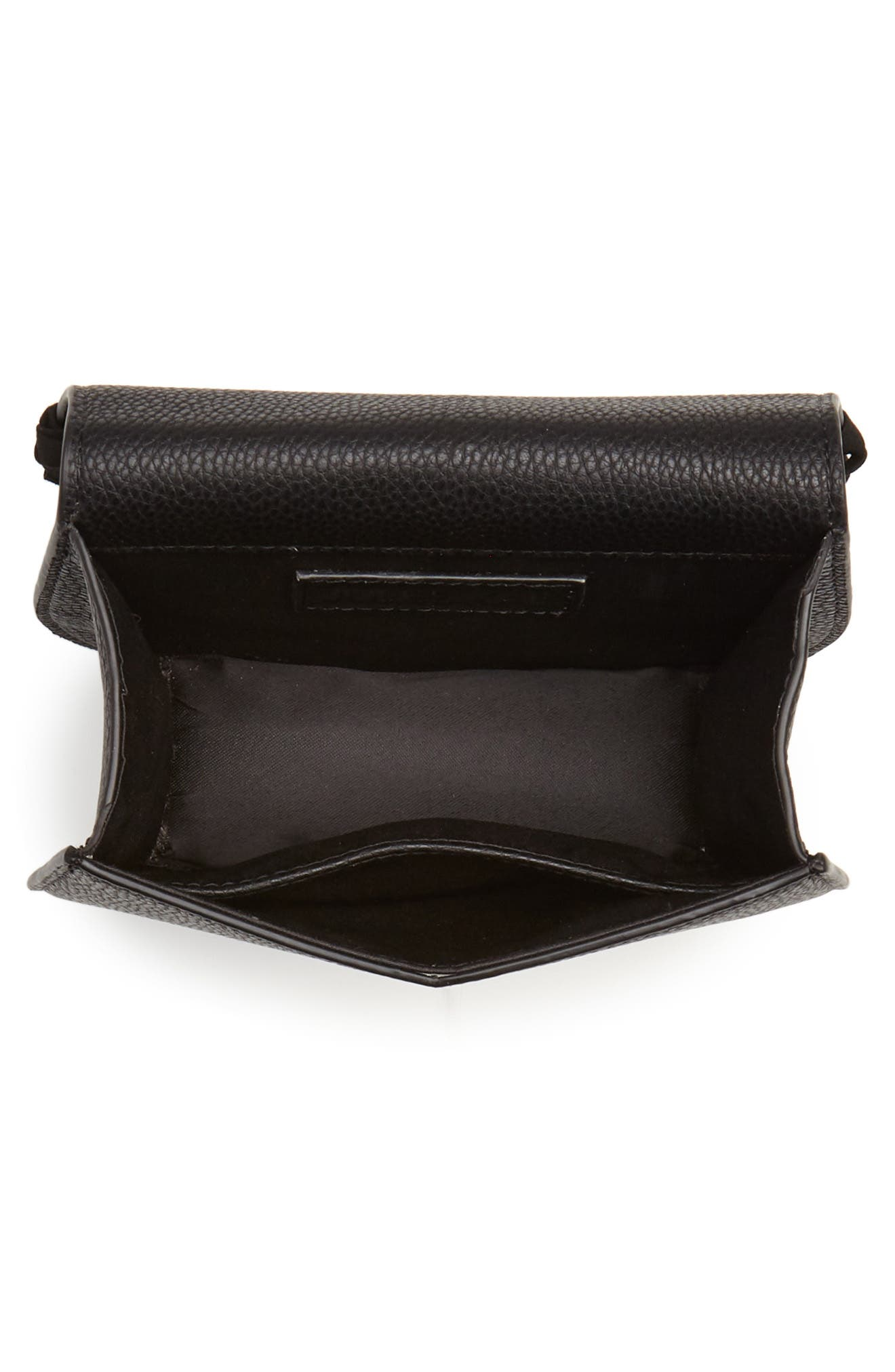 Mini Dylan Fringe Faux Leather Crossbody Bag,                             Alternate thumbnail 4, color,                             BLACK LEATHER