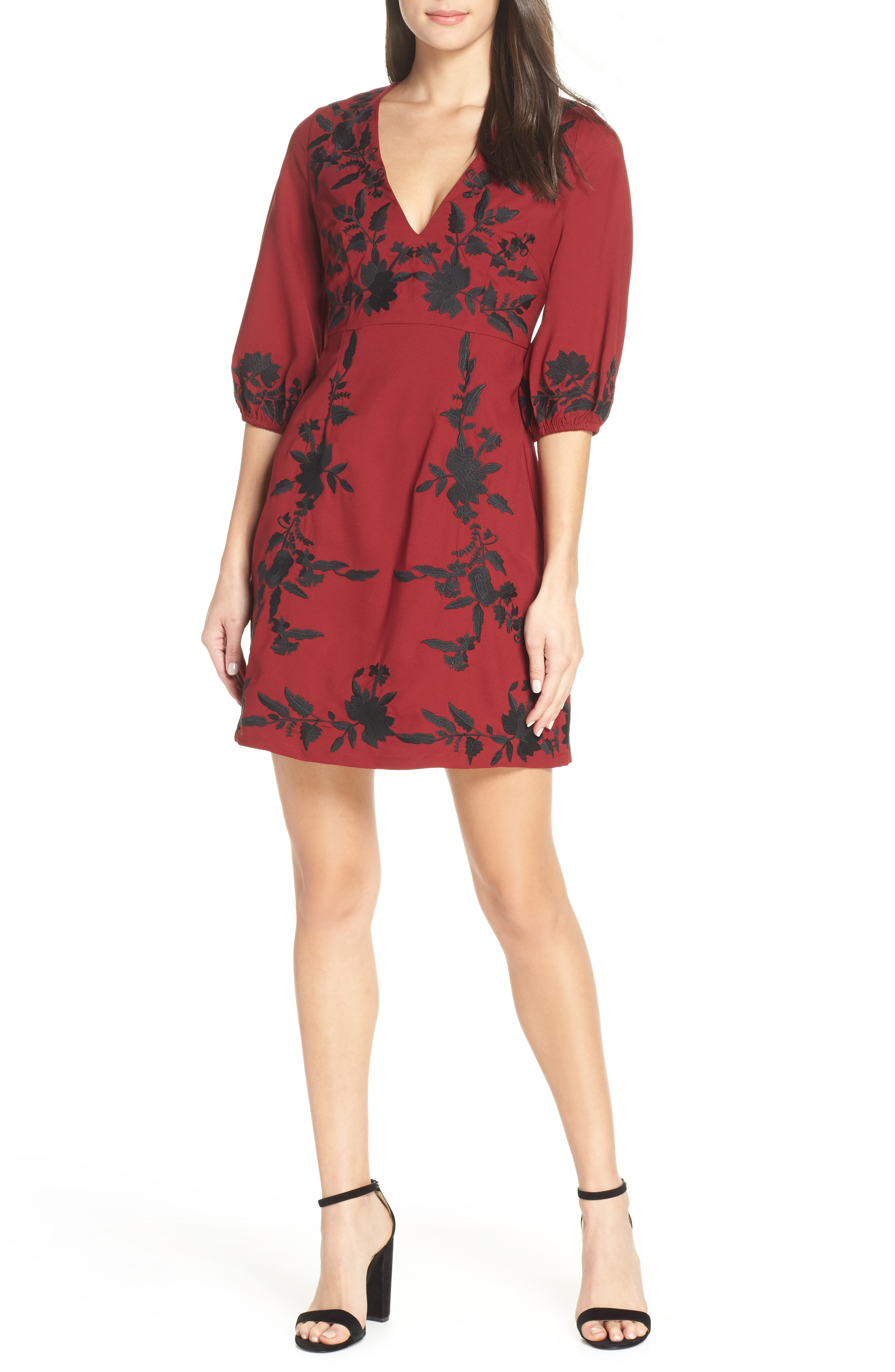 FOXIEDOX Melia Embroidered Cocktail Dress in Burgundy