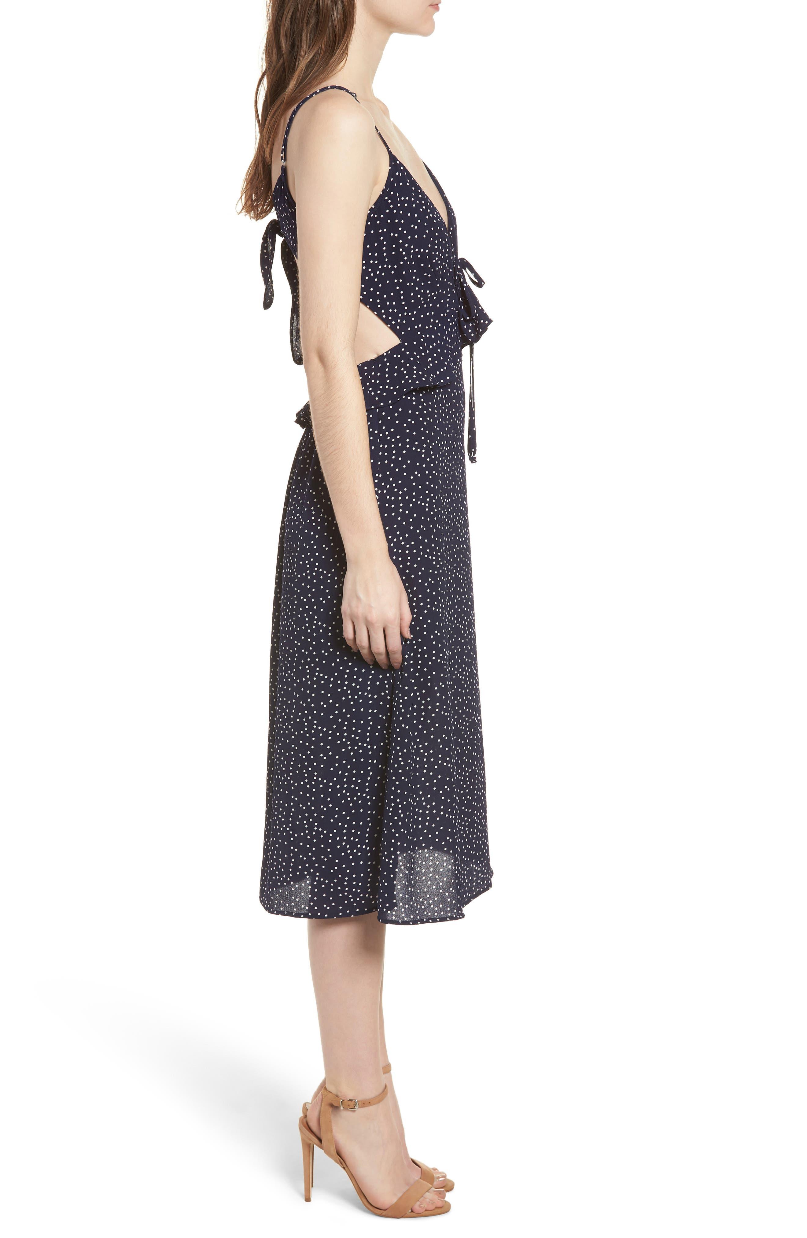 Ruffle Tie Back Midi Dress,                             Alternate thumbnail 3, color,                             405