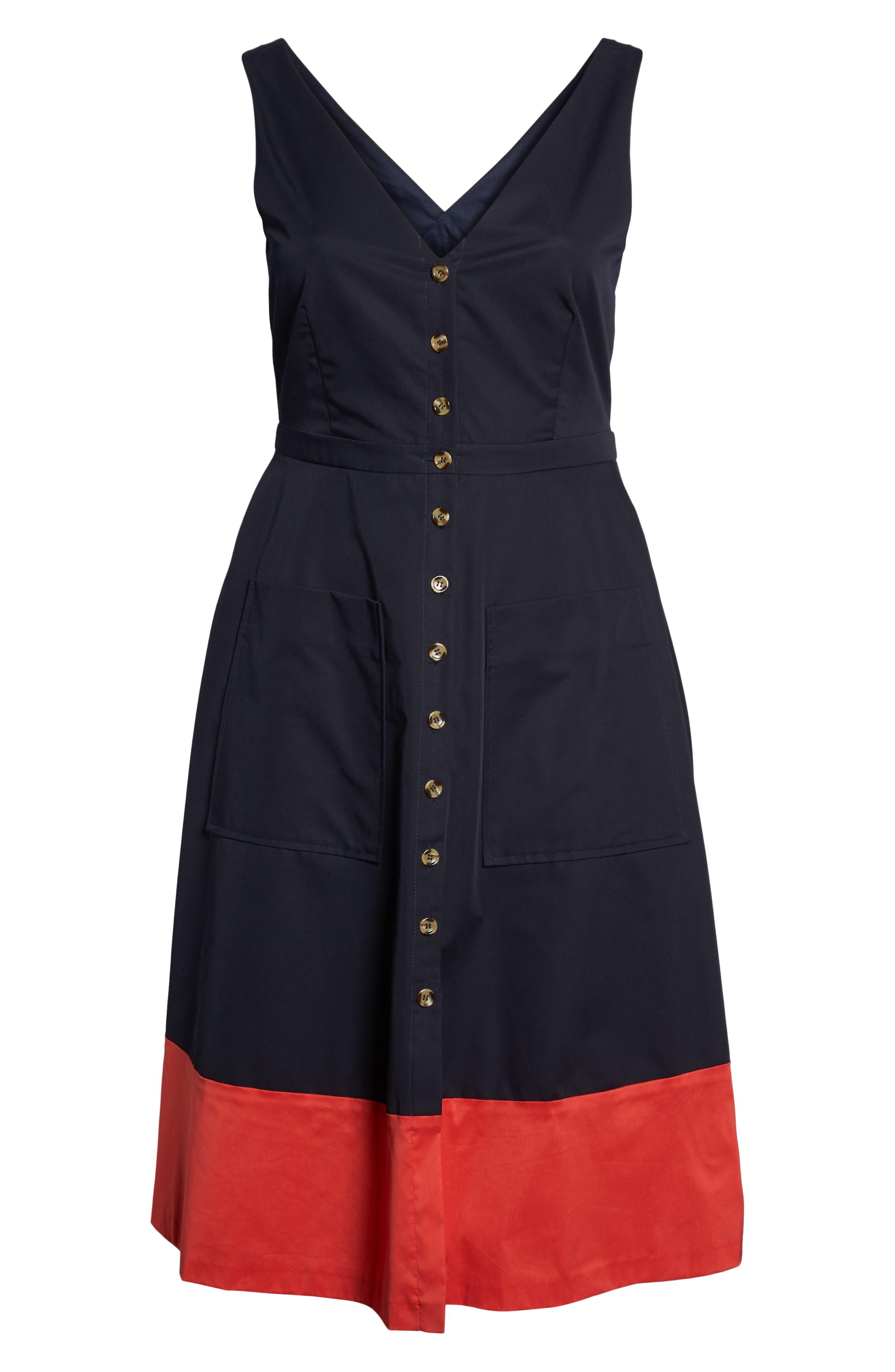 Colorblock Cotton Midi Dress,                             Alternate thumbnail 7, color,                             NAVY RED COLOR BLOCK