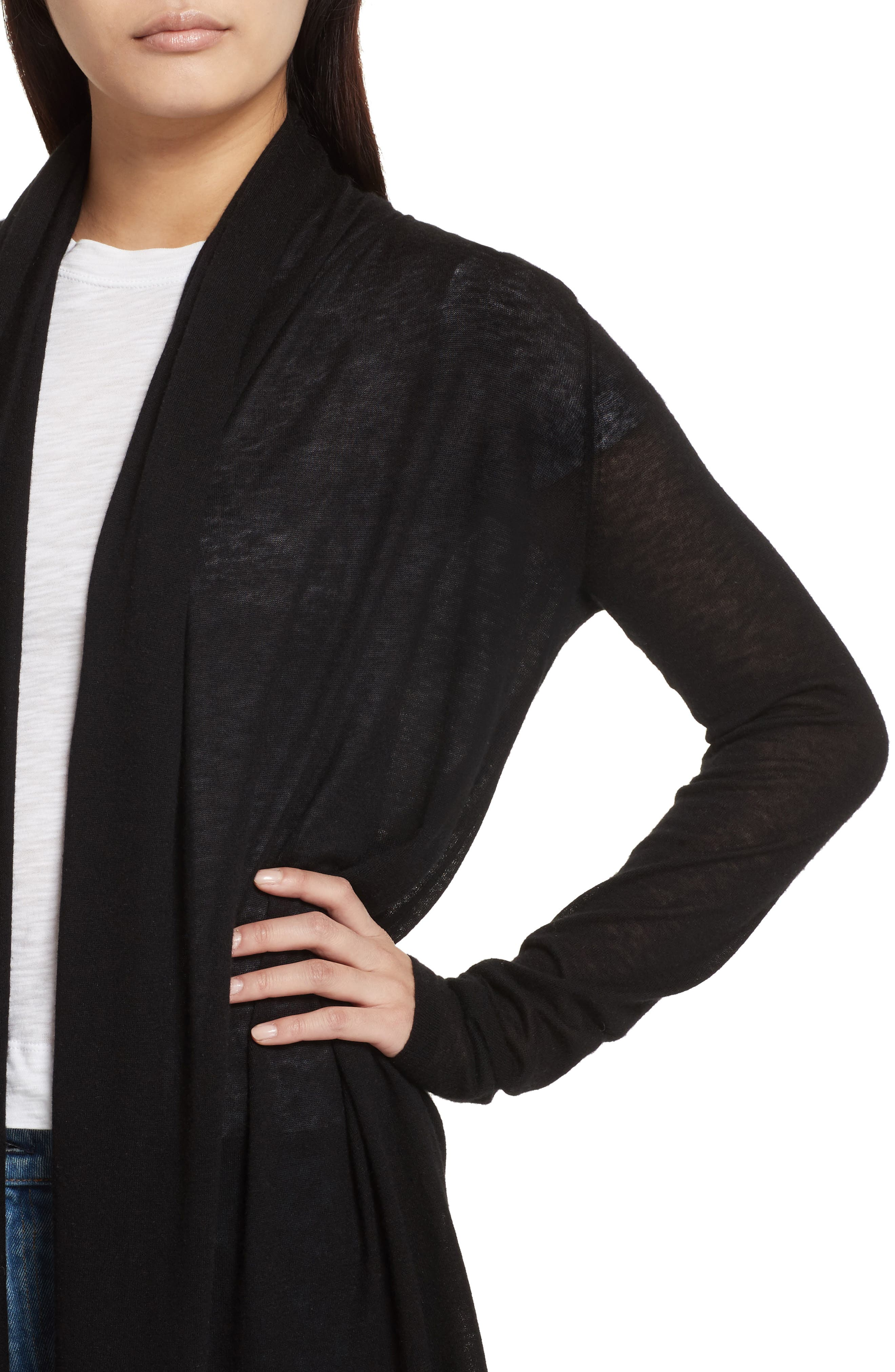 Featherweight Cashmere Cardigan,                             Alternate thumbnail 4, color,                             001