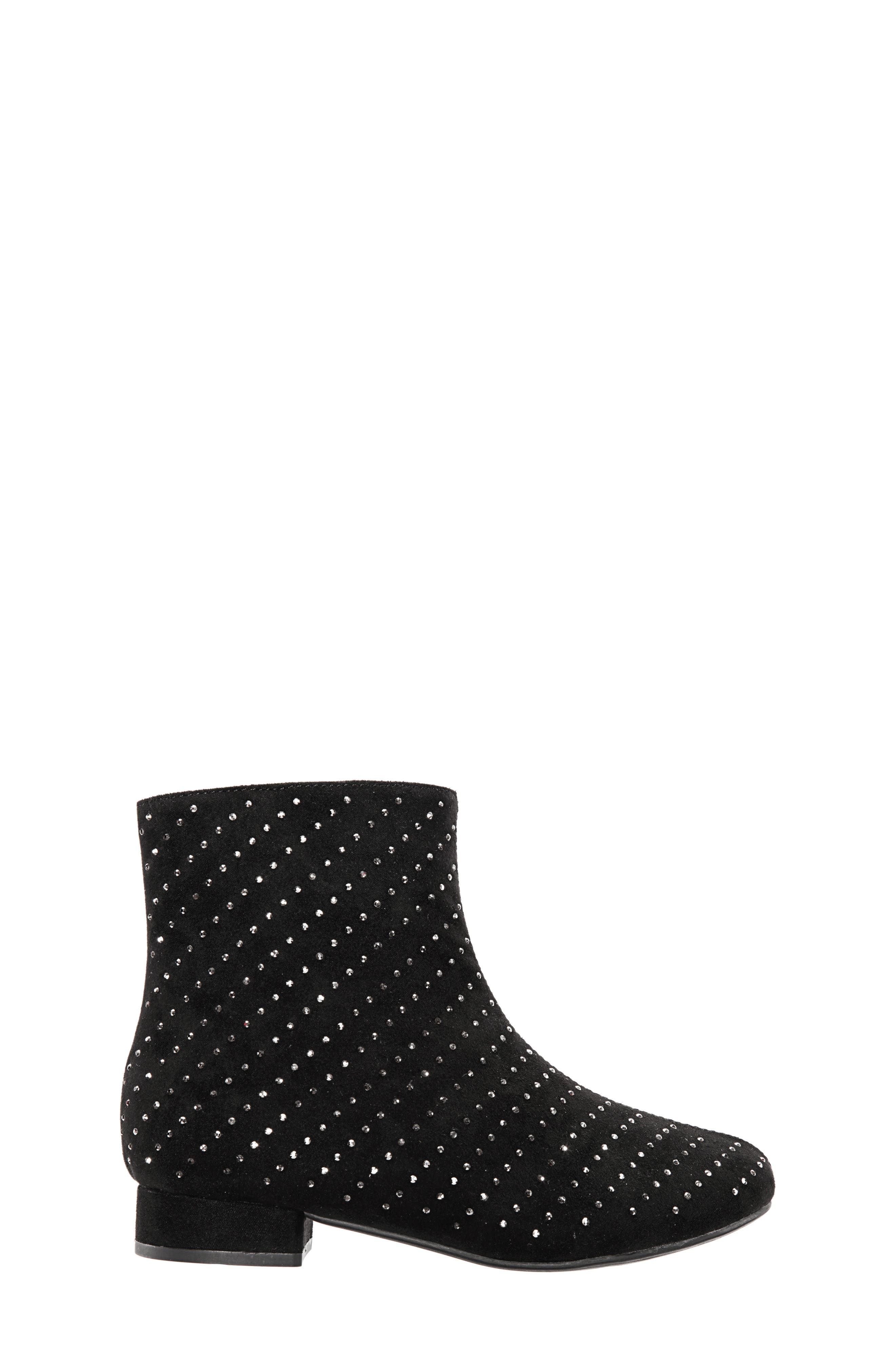 Peaches Studded Bootie,                             Alternate thumbnail 3, color,                             BLACK MICRO SUEDE
