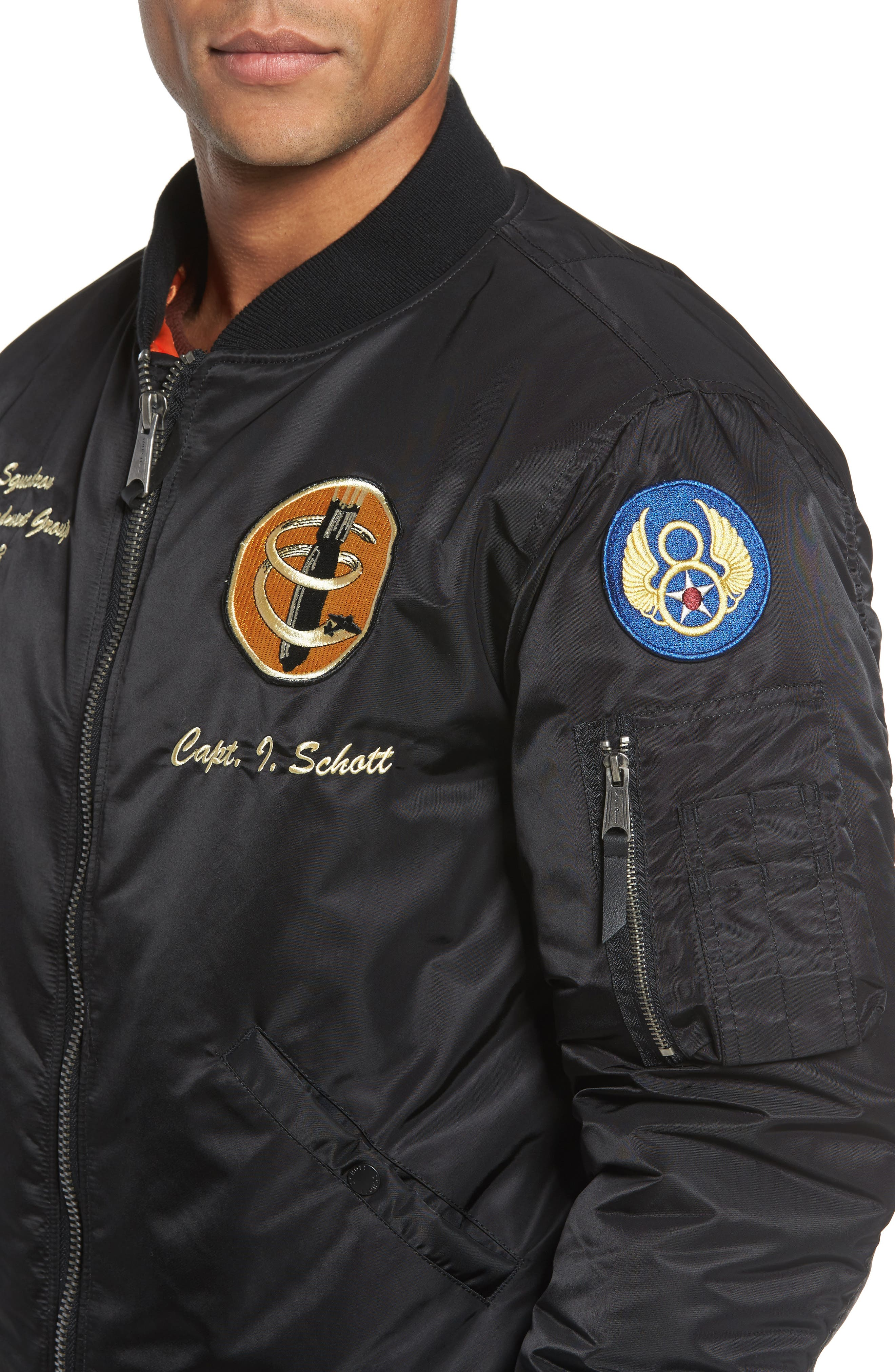 Highly Decorated Embroidered Flight Jacket,                             Alternate thumbnail 4, color,                             001