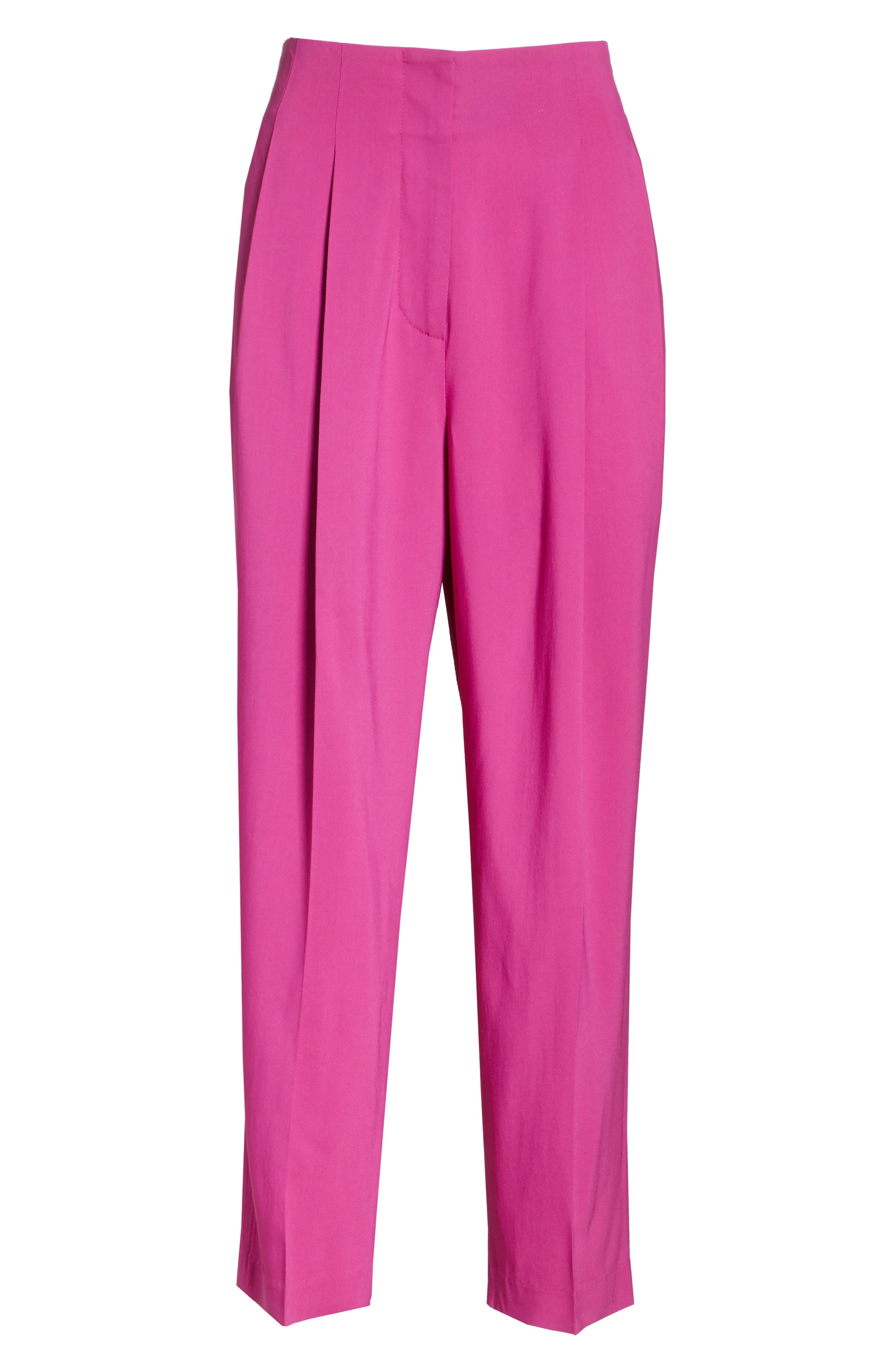 Pleated Crop Trousers,                             Alternate thumbnail 6, color,                             FUCHSIA
