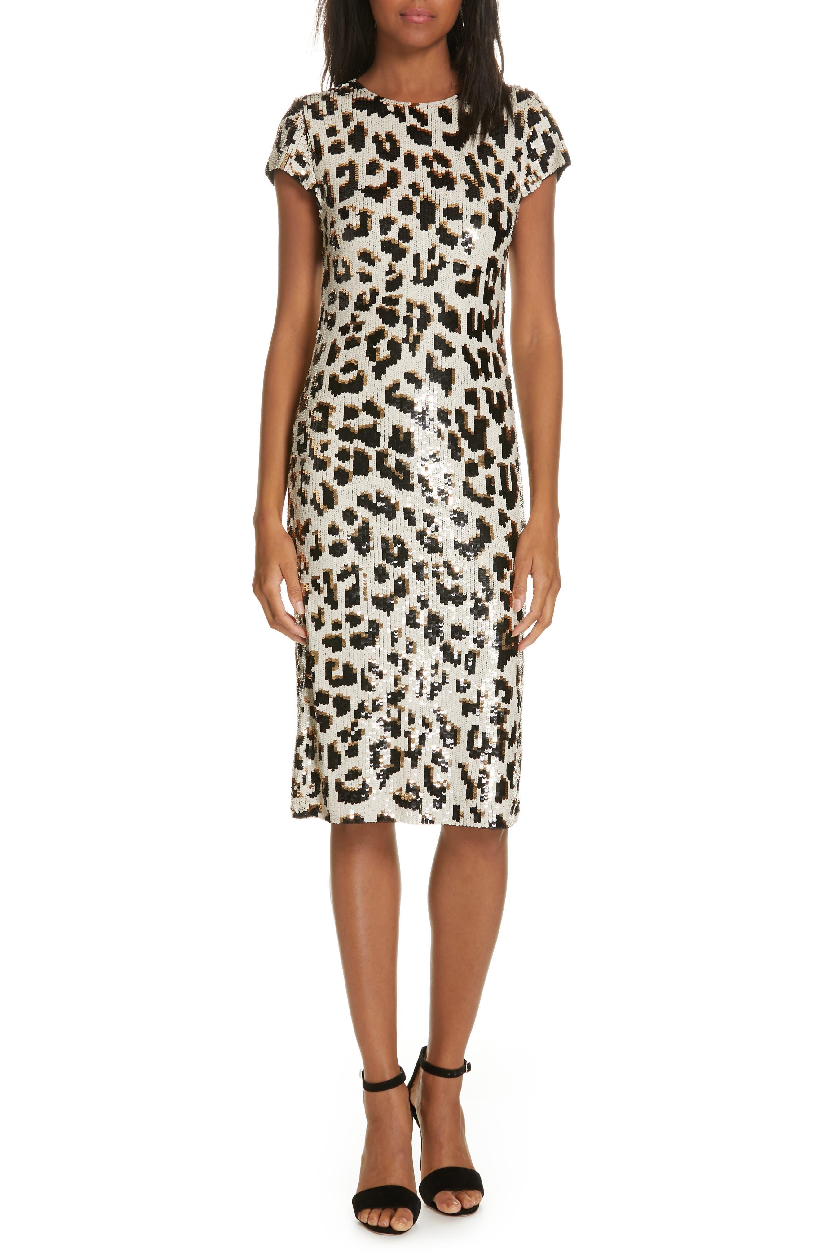 ALICE + OLIVIA Nat Sequin Sheath Dress, Main, color, LEOPARD