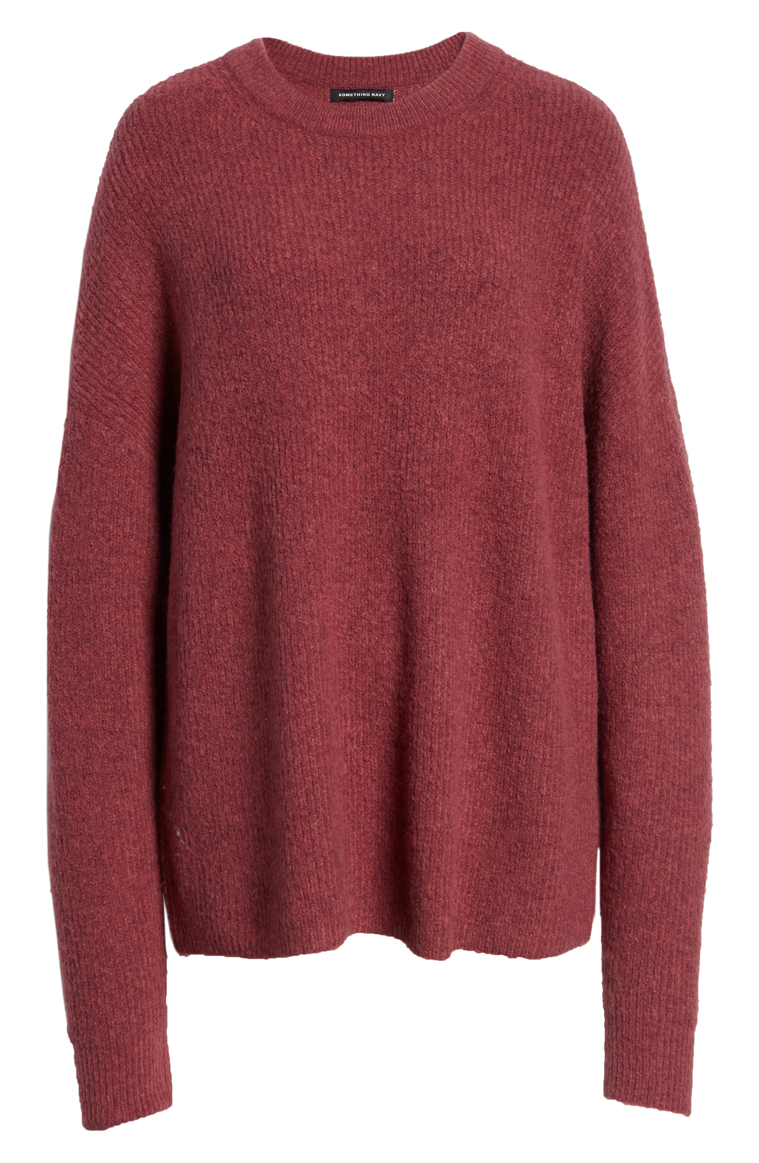 Fuzzy Oversize Sweater,                             Alternate thumbnail 6, color,                             BURGUNDY THORN