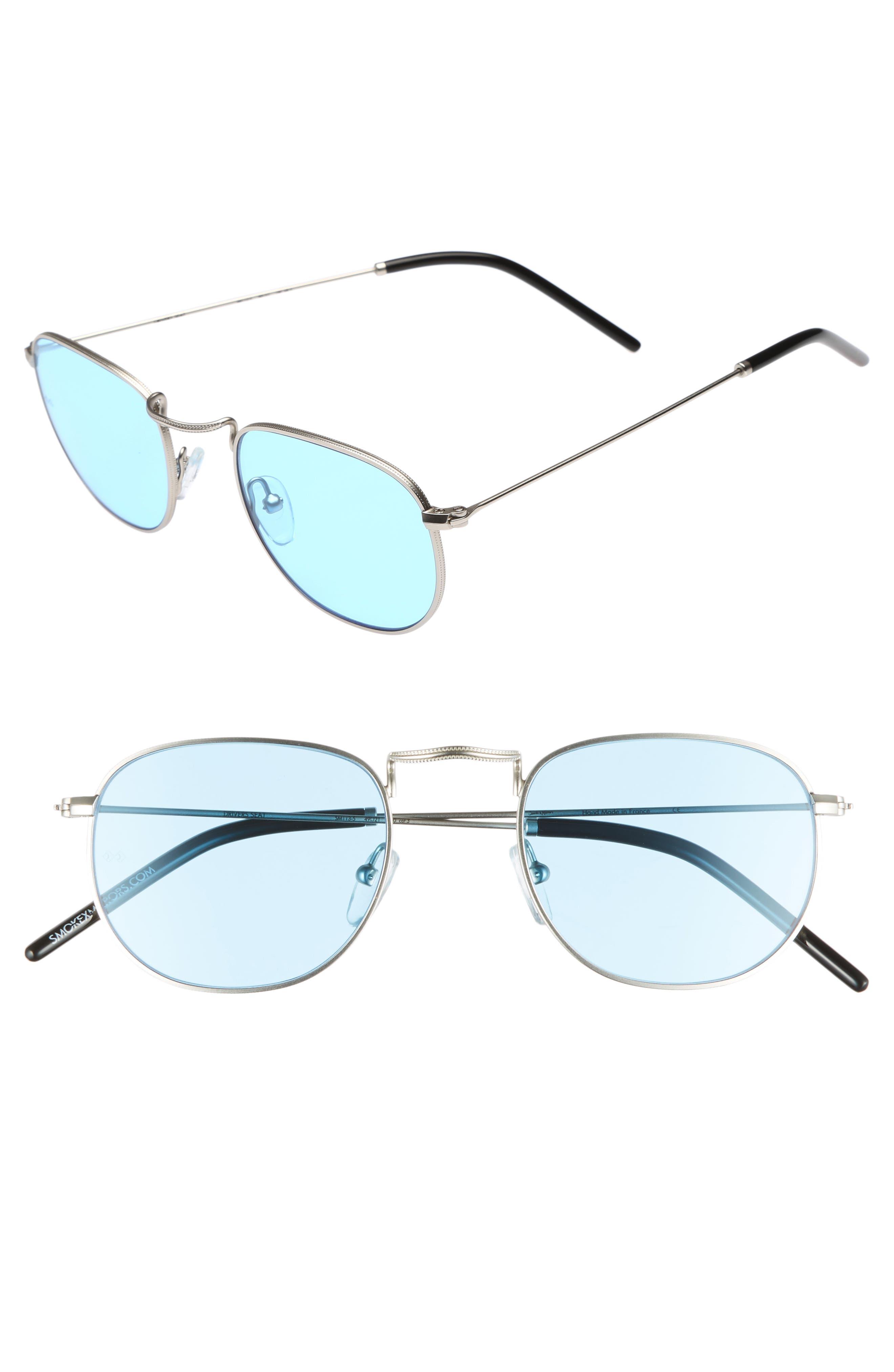 Driver's Seat 49mm Sunglasses,                             Main thumbnail 1, color,                             SILVER/ TRANSPARENT BLUE