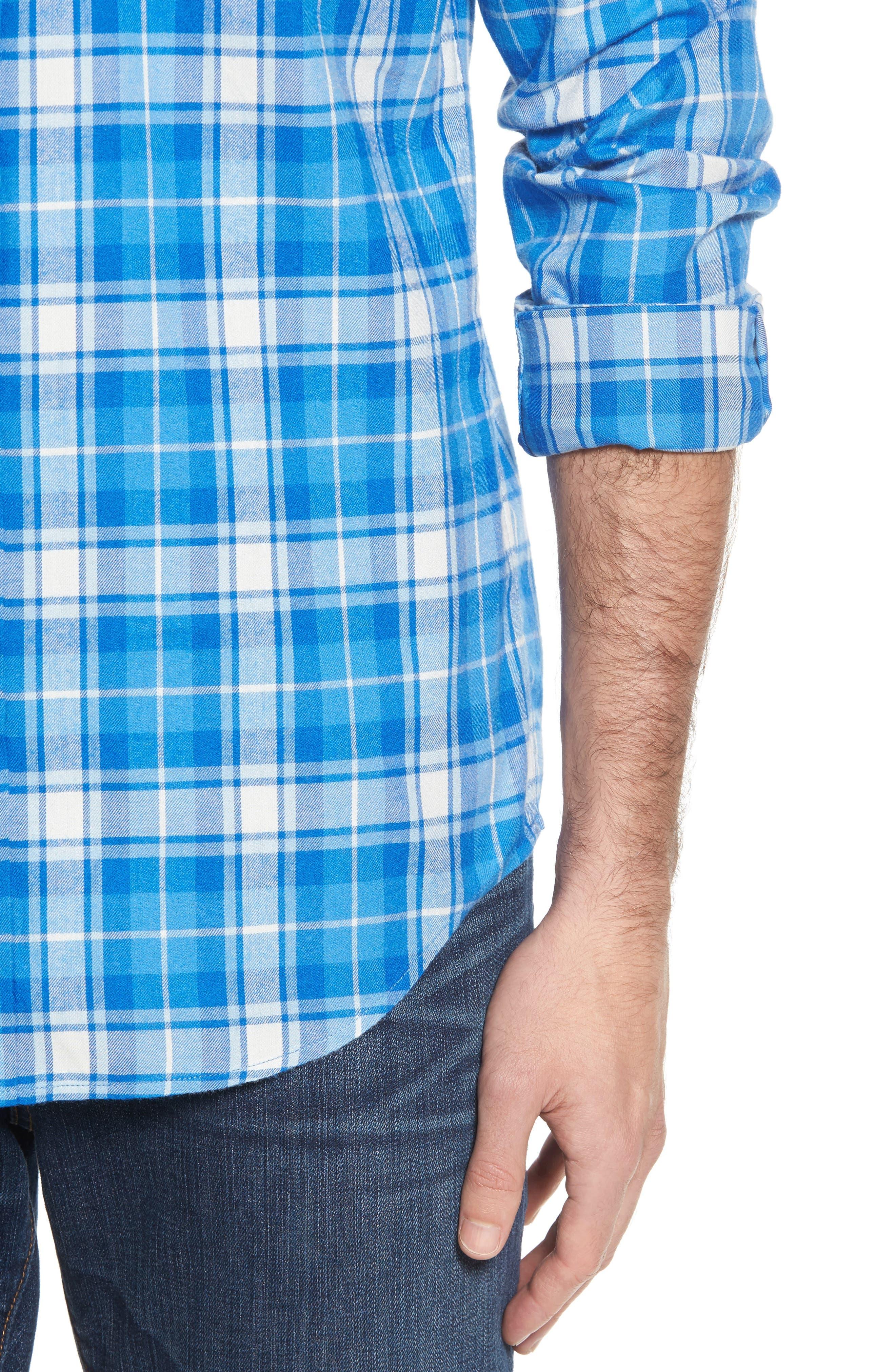 Tucker Lone Point Classic Fit Plaid Sport Shirt,                             Alternate thumbnail 4, color,                             400
