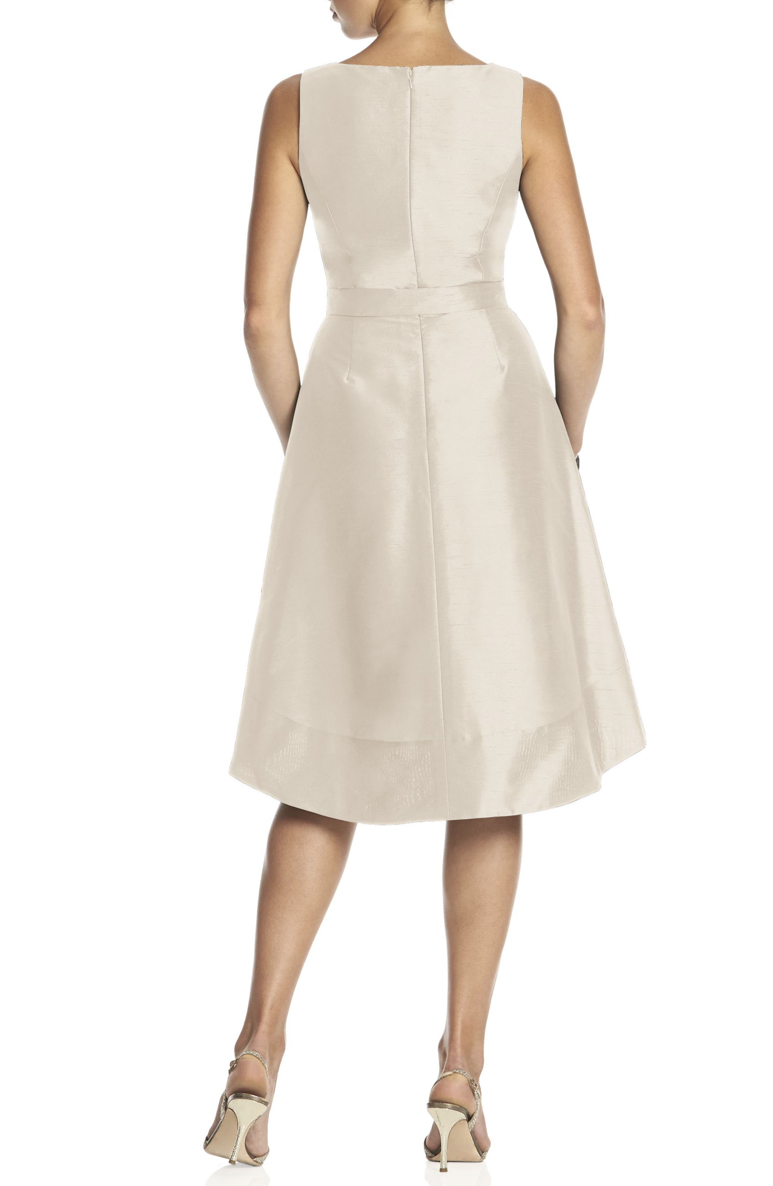 Satin High/Low Fit & Flare Dress,                             Alternate thumbnail 3, color,                             CHAMPAGNE