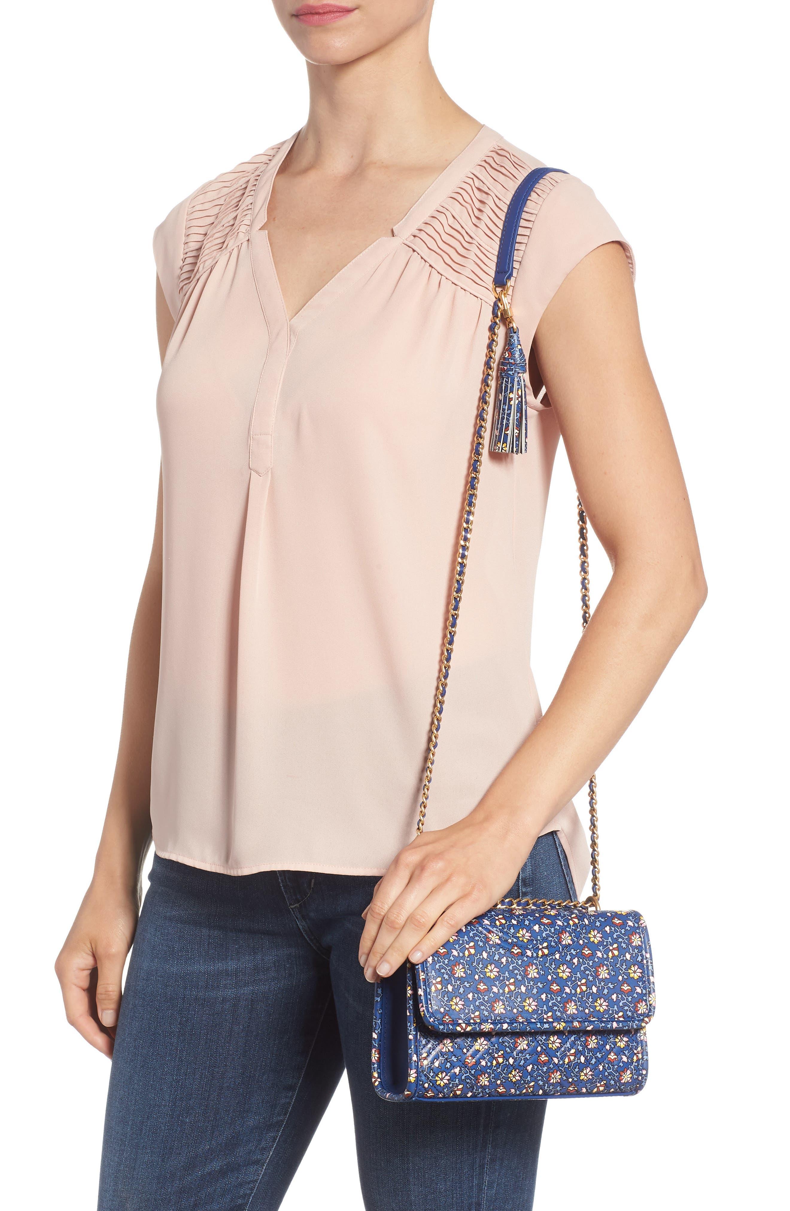 Fleming Print Leather Convertible Shoulder Bag,                             Alternate thumbnail 2, color,                             BLUE WILD PANSY