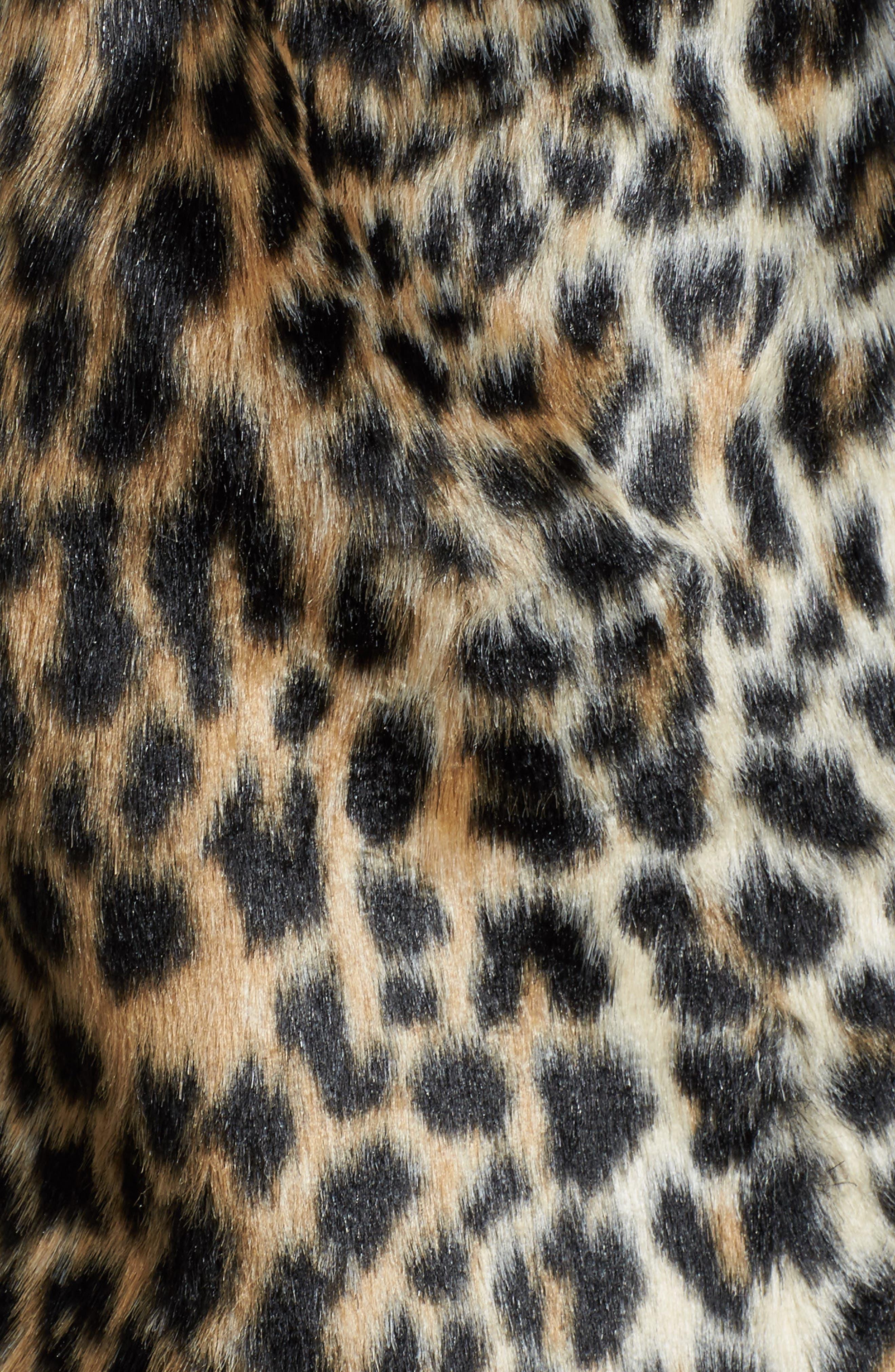 Courtney Faux Leopard Fur Jacket,                             Alternate thumbnail 6, color,                             209
