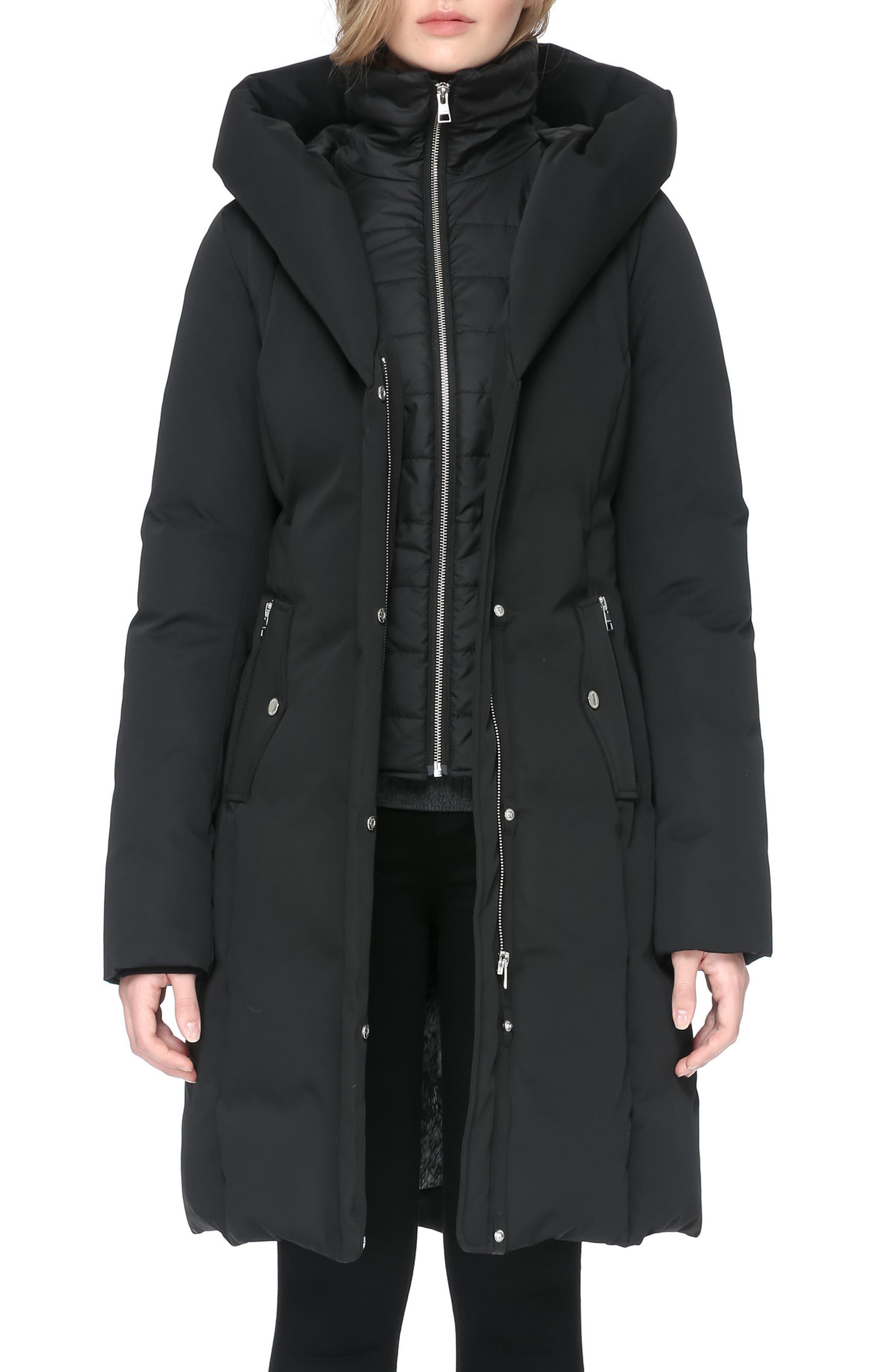 Hooded Down Coat,                             Alternate thumbnail 3, color,                             001